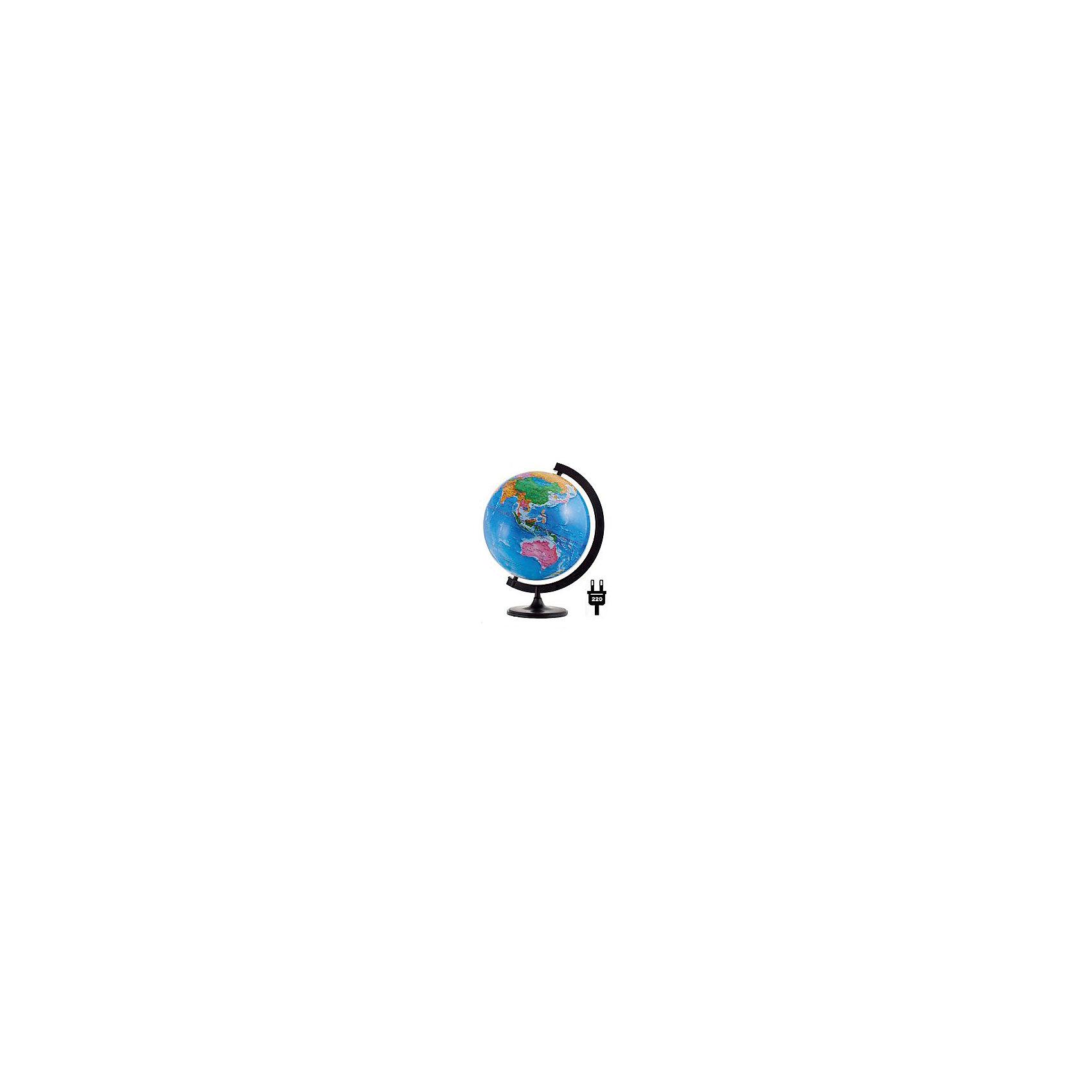 Глобус Земли политический с подсветкой, диаметр 320 ммГлобусы<br>Характеристики товара:<br><br>• возраст от 6 лет;<br>• материал: пластик;<br>• работает от сети<br>• цвет подставки: чёрный<br>• диаметр глобуса 320 мм;<br>• масштаб 1:40000000;<br>• размер упаковки 34,3х34,3х35,5 см;<br>• вес упаковки 1,035 кг;<br>• страна производитель: Россия.<br><br>Глобус Земли политический с подсветкой, 320 мм Глобусный мир — уменьшенная копия нашей планеты. Глобус станет отличным дополнением для школьника или студента. Он представляет собой политическую карту мира со странами, их границами, столицами и городами. Глобус оснащен подсветкой, которая работает от сети.<br><br>Глобус Земли политический с подсветкой, 320 мм Глобусный мир можно приобрести в нашем интернет-магазине.<br><br>Ширина мм: 343<br>Глубина мм: 343<br>Высота мм: 355<br>Вес г: 1035<br>Возраст от месяцев: 72<br>Возраст до месяцев: 2147483647<br>Пол: Унисекс<br>Возраст: Детский<br>SKU: 5518212