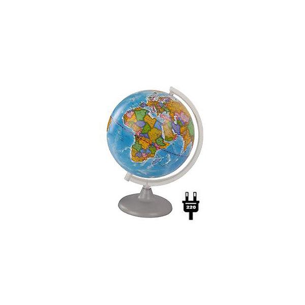 Глобус Земли политический с подсветкой, диаметр 210 ммГлобусы<br>Характеристики товара:<br><br>• возраст от 6 лет;<br>• материал: пластик;<br>• работает от сети<br>• цвет подставки: прозрачный<br>• диаметр глобуса 210 мм;<br>• масштаб 1:60000000;<br>• размер упаковки 30х21,7х21,7 см;<br>• вес упаковки 180 гр.;<br>• страна производитель: Россия.<br><br>Глобус Земли политический с подсветкой, 210 мм Глобусный мир — уменьшенная копия нашей планеты. Глобус станет отличным дополнением для школьника или студента. Он представляет собой политическую карту мира со странами, их границами, столицами и городами. Глобус оснащен подсветкой, которая работает от сети.<br><br>Глобус Земли политический с подсветкой, 210 мм Глобусный мир можно приобрести в нашем интернет-магазине.<br><br>Ширина мм: 217<br>Глубина мм: 217<br>Высота мм: 300<br>Вес г: 180<br>Возраст от месяцев: 72<br>Возраст до месяцев: 2147483647<br>Пол: Унисекс<br>Возраст: Детский<br>SKU: 5518213