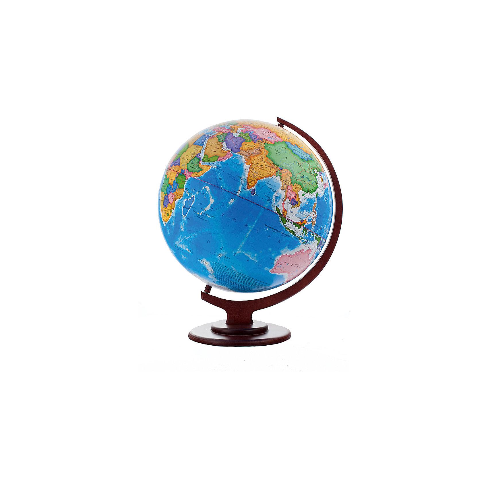 Глобус Земли политический рельефный, диаметр 420 ммГлобусы<br>Характеристики товара:<br><br>• возраст от 6 лет;<br>• материал: пластик, дерево;<br>• цвет подставки: вишня, орех<br>• диаметр глобуса 420 мм;<br>• масштаб 1:30000000;<br>• размер упаковки 55х46х46 см;<br>• вес упаковки 1,035 кг;<br>• страна производитель: Россия.<br><br>Глобус Земли политический рельефный, 420 мм Глобусный мир — уменьшенная копия нашей планеты. Глобус станет отличным дополнением для школьника или студента. Он представляет собой политическую карту мира со странами, их границами, столицами и городами. Глобус имеет рельефную поверхность.<br><br>Глобус Земли политический рельефный, 420 мм Глобусный мир можно приобрести в нашем интернет-магазине.<br><br>Ширина мм: 460<br>Глубина мм: 460<br>Высота мм: 550<br>Вес г: 1035<br>Возраст от месяцев: 72<br>Возраст до месяцев: 2147483647<br>Пол: Унисекс<br>Возраст: Детский<br>SKU: 5518214