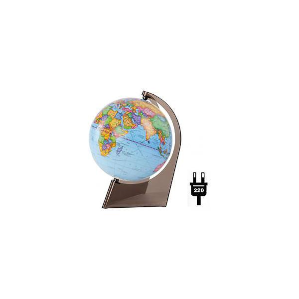 Глобус Земли политический на треугольнике с подсветкой, диаметр 210 ммГлобусы<br>Характеристики товара:<br><br>• возраст от 6 лет;<br>• материал: пластик;<br>• работает от сети<br>• цвет подставки: прозрачный<br>• диаметр глобуса 210 мм;<br>• масштаб 1:60000000;<br>• размер упаковки 21,7х21,7х21,7 см;<br>• вес упаковки 800 гр.;<br>• страна производитель: Россия.<br><br>Глобус Земли политический на треугольнике с подсветкой, 210 мм Глобусный мир — уменьшенная копия нашей планеты. Глобус станет отличным дополнением для школьника или студента. Он представляет собой политическую карту мира со странами, их границами, столицами и городами. Глобус оснащен подсветкой, которая работает от сети.<br><br>Глобус Земли политический на треугольнике с подсветкой, 210 мм Глобусный мир можно приобрести в нашем интернет-магазине.<br><br>Ширина мм: 217<br>Глубина мм: 217<br>Высота мм: 217<br>Вес г: 800<br>Возраст от месяцев: 72<br>Возраст до месяцев: 2147483647<br>Пол: Унисекс<br>Возраст: Детский<br>SKU: 5518215