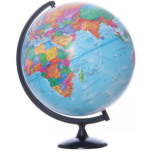 Глобус Земли политический, диаметр 420 ммГлобусы<br>Характеристики товара:<br><br>• возраст от 6 лет;<br>• материал: пластик;<br>• цвет подставки: прозрачный<br>• диаметр глобуса 420 мм;<br>• масштаб 1:30000000;<br>• размер упаковки 55х46х46 см;<br>• вес упаковки 1,035 кг;<br>• страна производитель: Россия.<br><br>Глобус Земли политический, 420 мм Глобусный мир — уменьшенная копия нашей планеты. Глобус станет отличным дополнением при изучении географии для школьника или студента. Он представляет собой политическую карту мира со странами, их границами, столицами и городами.<br><br>Глобус Земли политический, 420 мм Глобусный мир можно приобрести в нашем интернет-магазине.<br>Ширина мм: 460; Глубина мм: 460; Высота мм: 550; Вес г: 1035; Возраст от месяцев: 72; Возраст до месяцев: 2147483647; Пол: Унисекс; Возраст: Детский; SKU: 5518217;