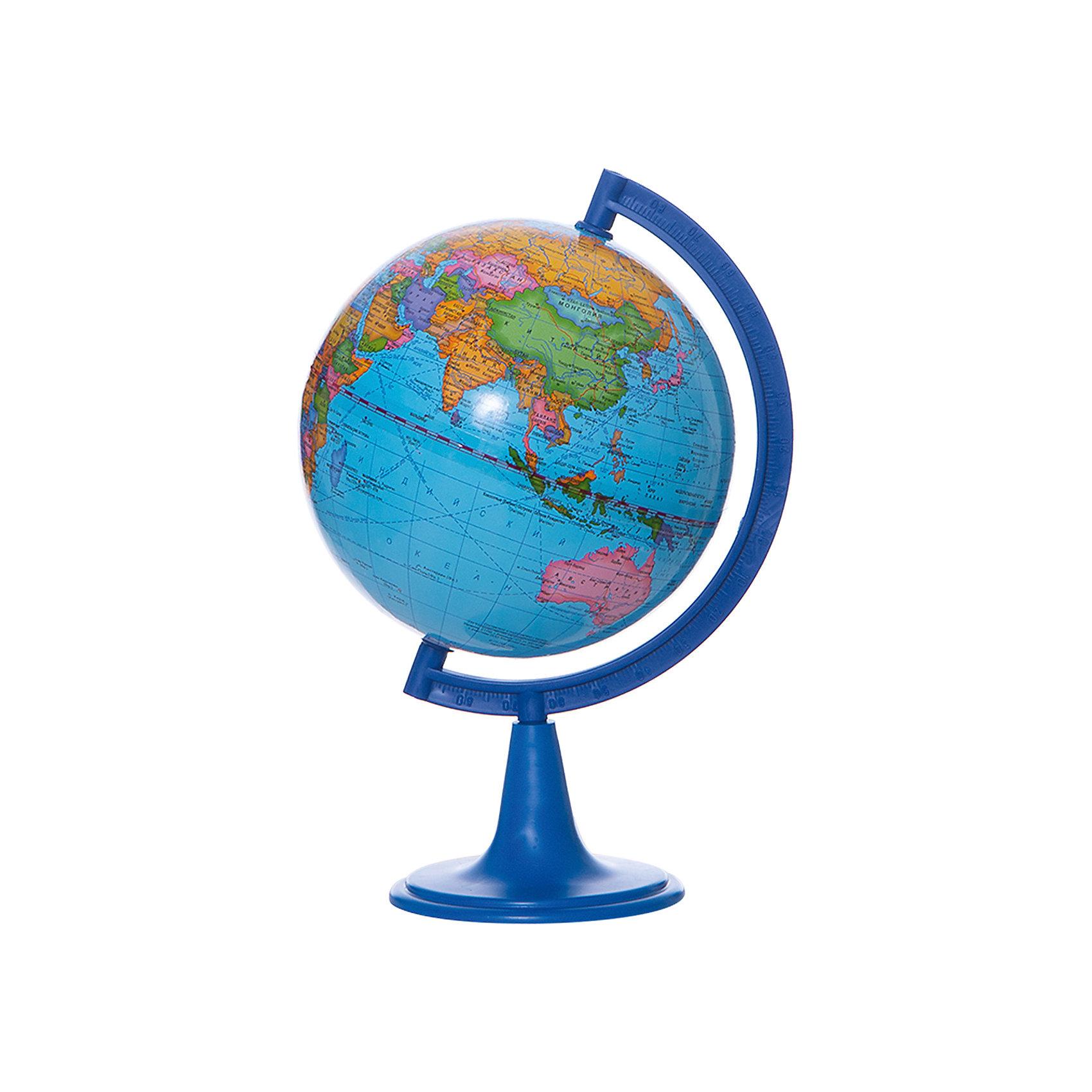 Глобус Земли политический, диаметр 150 ммГлобусы<br>Характеристики товара:<br><br>• возраст от 6 лет;<br>• материал: пластик;<br>• цвет подставки: чёрный<br>• диаметр глобуса 150 мм;<br>• масштаб 1:84000000;<br>• размер упаковки 25х16х16 см;<br>• вес упаковки 450 гр.;<br>• страна производитель: Россия.<br><br>Глобус Земли политический, 150 мм Глобусный мир — уменьшенная копия нашей планеты. Глобус станет отличным дополнением при изучении географии для школьника или студента. Он представляет собой политическую карту мира со странами, их границами, столицами и городами.<br><br>Глобус Земли политический, 150 мм Глобусный мир можно приобрести в нашем интернет-магазине.<br><br>Ширина мм: 160<br>Глубина мм: 160<br>Высота мм: 250<br>Вес г: 450<br>Возраст от месяцев: 72<br>Возраст до месяцев: 2147483647<br>Пол: Унисекс<br>Возраст: Детский<br>SKU: 5518221
