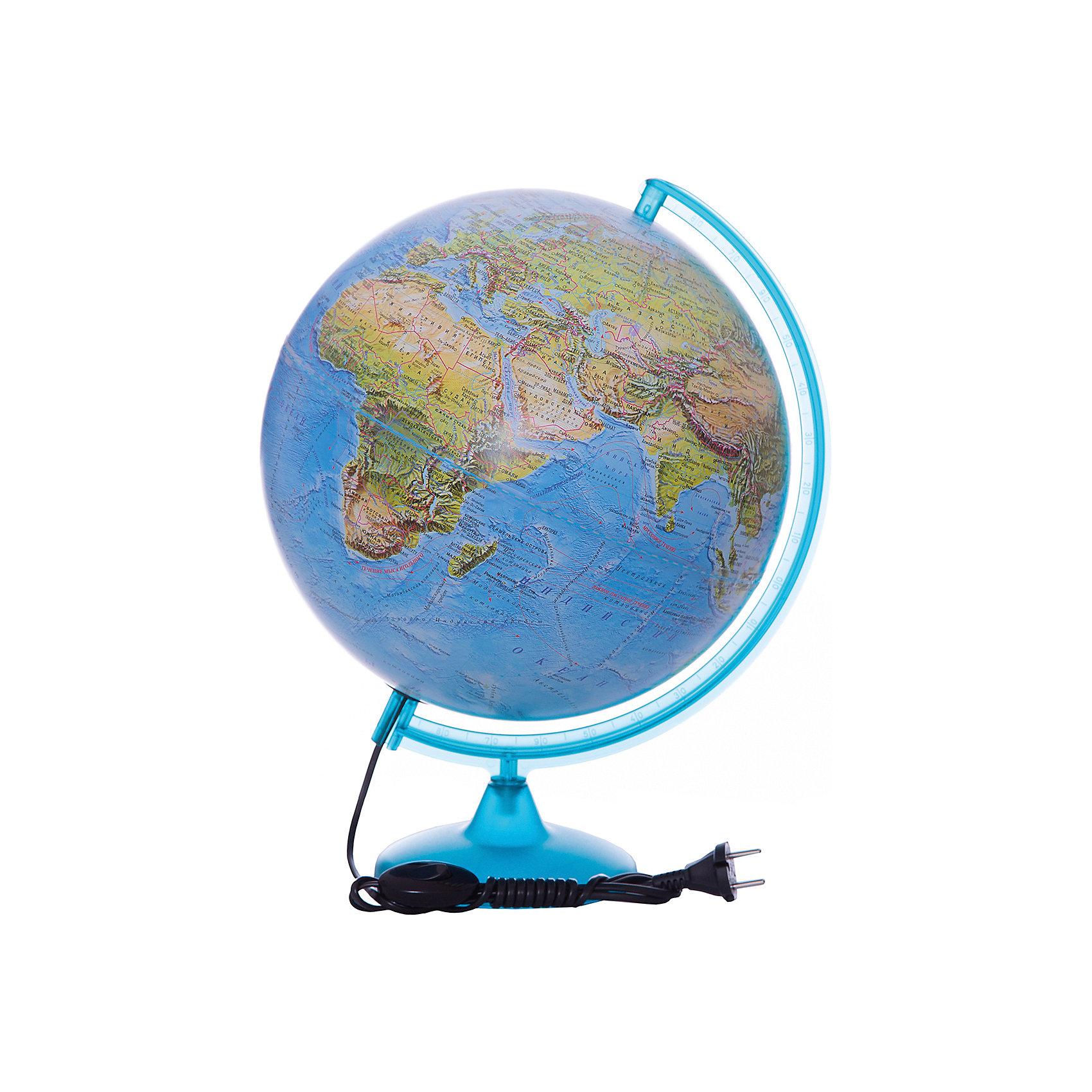 Глобус Земли «Двойная карта» с подсветкой, диаметр 320 ммГлобусы<br>Характеристики товара:<br><br>• возраст от 6 лет;<br>• материал: пластик;<br>• работает от сети<br>• цвет подставки: чёрный<br>• диаметр глобуса 320 мм;<br>• масштаб 1:40000000;<br>• размер упаковки 34,3х34,3х35,5 см;<br>• вес упаковки 1,035 кг;<br>• страна производитель: Россия.<br><br>Глобус Земли «Двойная карта» с подсветкой, 320 мм Глобусный мир — уменьшенная копия нашей планеты. Глобус станет отличным дополнением при изучении географии для школьника или студента. Он позволит познакомиться поближе с нашей планетой, на нем нанесены моря, океаны, глубоководные впадины, материки и острова, горы и возвышенности. Глобус оснащен подсветкой, которая работает от сети.<br><br>Глобус Земли «Двойная карта» с подсветкой, 320 мм Глобусный мир можно приобрести в нашем интернет-магазине.<br><br>Ширина мм: 343<br>Глубина мм: 343<br>Высота мм: 355<br>Вес г: 1035<br>Возраст от месяцев: 72<br>Возраст до месяцев: 2147483647<br>Пол: Унисекс<br>Возраст: Детский<br>SKU: 5518223