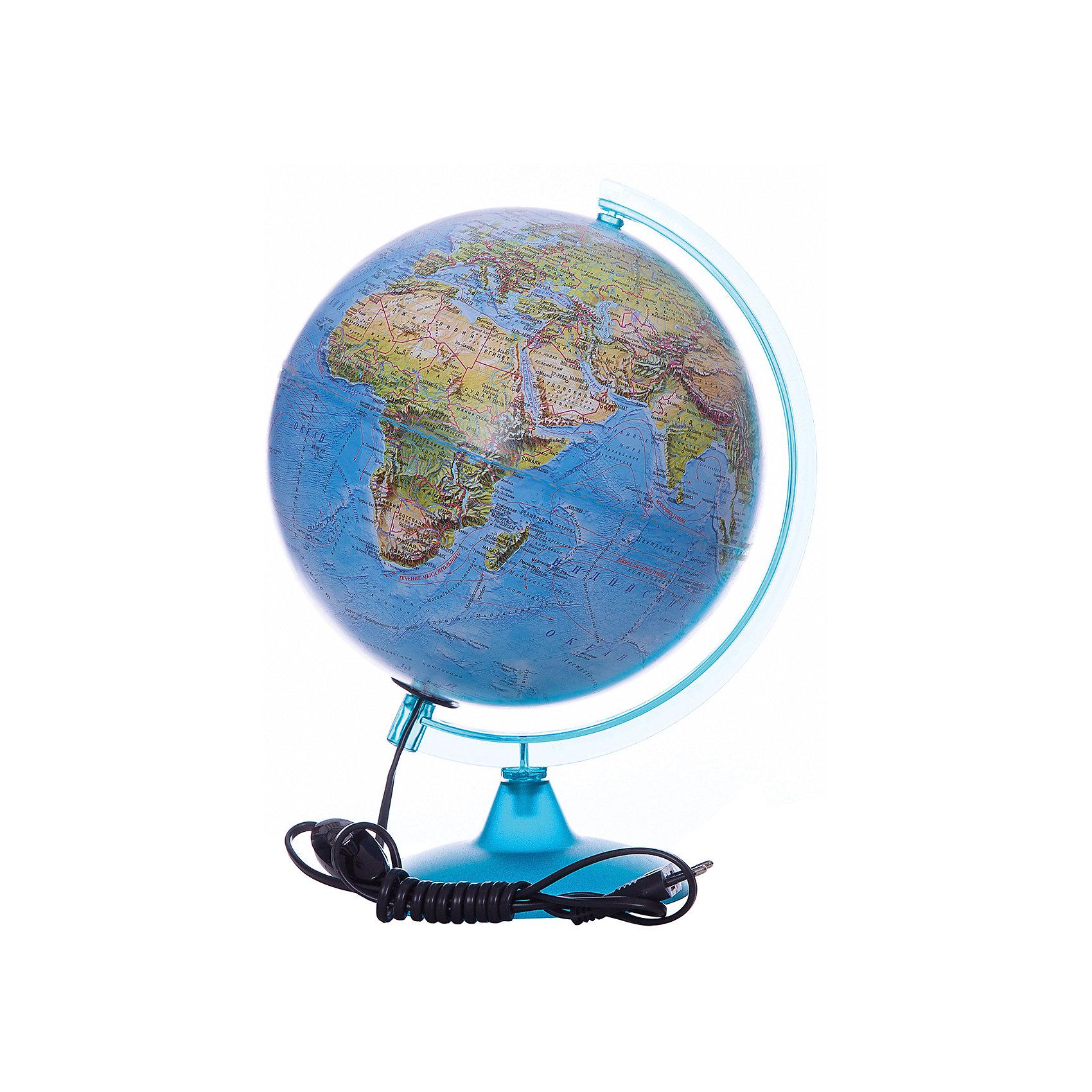 Глобус Земли «Двойная карта» с подсветкой, диаметр 250 ммГлобусы<br>Характеристики товара:<br><br>• возраст от 6 лет;<br>• материал: пластик, дерево;<br>• работает от сети<br>• цвет подставки: вишня, орех<br>• диаметр глобуса 250 мм;<br>• масштаб 1:50000000;<br>• размер упаковки 36х26х26 см;<br>• вес упаковки 1,035 кг;<br>• страна производитель: Россия.<br><br>Глобус Земли «Двойная карта» с подсветкой, 250 мм Глобусный мир — уменьшенная копия нашей планеты. Глобус станет отличным дополнением при изучении географии для школьника или студента. Он позволит познакомиться поближе с нашей планетой, на нем нанесены моря, океаны, глубоководные впадины, материки и острова, горы и возвышенности. Глобус оснащен подсветкой, которая работает от сети.<br><br>Глобус Земли «Двойная карта» с подсветкой, 250 мм Глобусный мир можно приобрести в нашем интернет-магазине.<br><br>Ширина мм: 260<br>Глубина мм: 260<br>Высота мм: 360<br>Вес г: 1035<br>Возраст от месяцев: 72<br>Возраст до месяцев: 2147483647<br>Пол: Унисекс<br>Возраст: Детский<br>SKU: 5518224