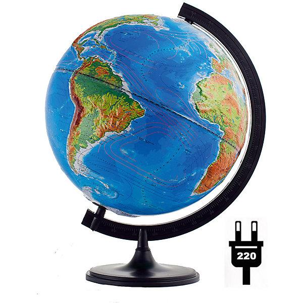 Глобус Земли «Двойная карта» рельефный с подсветкой, диаметр 320 ммГлобусы<br>Характеристики товара:<br><br>• возраст от 6 лет;<br>• материал: пластик;<br>• работает от сети<br>• цвет подставки: чёрный<br>• диаметр глобуса 320 мм;<br>• масштаб 1:40000000;<br>• размер упаковки 34,3х34,3х35,5 см;<br>• вес упаковки 800 гр.;<br>• страна производитель: Россия.<br><br>Глобус Земли «Двойная карта» рельефный с подсветкой, 320 мм Глобусный мир — уменьшенная копия нашей планеты. Глобус станет отличным дополнением при изучении географии для школьника или студента. Он позволит познакомиться поближе с нашей планетой, на нем нанесены моря, океаны, глубоководные впадины, материки и острова, горы и возвышенности. Поверхность глобуса рельефная. Глобус оснащен подсветкой, которая работает от сети.<br><br>Глобус Земли «Двойная карта» рельефный с подсветкой, 320 мм Глобусный мир можно приобрести в нашем интернет-магазине.<br>Ширина мм: 343; Глубина мм: 343; Высота мм: 355; Вес г: 800; Возраст от месяцев: 72; Возраст до месяцев: 2147483647; Пол: Унисекс; Возраст: Детский; SKU: 5518226;