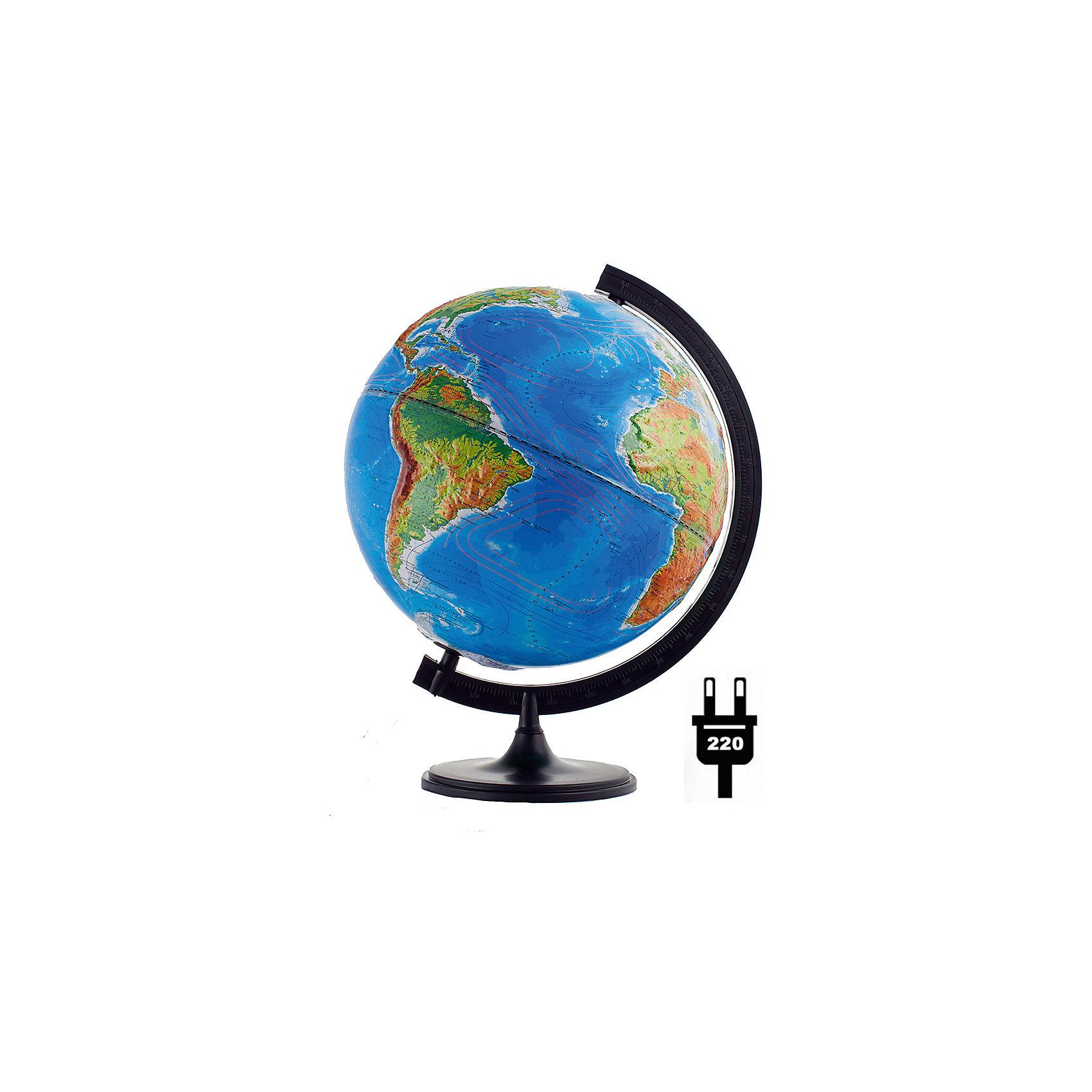Глобус Земли «Двойная карта» рельефный с подсветкой, диаметр 320 ммГлобусы<br>Характеристики товара:<br><br>• возраст от 6 лет;<br>• материал: пластик;<br>• работает от сети<br>• цвет подставки: чёрный<br>• диаметр глобуса 320 мм;<br>• масштаб 1:40000000;<br>• размер упаковки 34,3х34,3х35,5 см;<br>• вес упаковки 800 гр.;<br>• страна производитель: Россия.<br><br>Глобус Земли «Двойная карта» рельефный с подсветкой, 320 мм Глобусный мир — уменьшенная копия нашей планеты. Глобус станет отличным дополнением при изучении географии для школьника или студента. Он позволит познакомиться поближе с нашей планетой, на нем нанесены моря, океаны, глубоководные впадины, материки и острова, горы и возвышенности. Поверхность глобуса рельефная. Глобус оснащен подсветкой, которая работает от сети.<br><br>Глобус Земли «Двойная карта» рельефный с подсветкой, 320 мм Глобусный мир можно приобрести в нашем интернет-магазине.<br><br>Ширина мм: 343<br>Глубина мм: 343<br>Высота мм: 355<br>Вес г: 800<br>Возраст от месяцев: 72<br>Возраст до месяцев: 2147483647<br>Пол: Унисекс<br>Возраст: Детский<br>SKU: 5518226