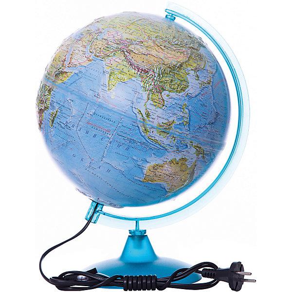 Глобус Земли «Двойная карта» рельефный с подсветкой, диаметр 250 ммГлобусы<br>Характеристики товара:<br><br>• возраст от 6 лет;<br>• материал: пластик, дерево;<br>• работает от сети<br>• цвет подставки: прозрачный<br>• диаметр глобуса 250 мм;<br>• масштаб 1:50000000;<br>• размер упаковки 36х26х26 см;<br>• вес упаковки 950 гр.;<br>• страна производитель: Россия.<br><br>Глобус Земли «Двойная карта» рельефный с подсветкой, 250 мм Глобусный мир — уменьшенная копия нашей планеты. Глобус станет отличным дополнением при изучении географии для школьника или студента. Он позволит познакомиться поближе с нашей планетой, на нем нанесены моря, океаны, глубоководные впадины, материки и острова, горы и возвышенности. Поверхность глобуса рельефная. Глобус оснащен подсветкой, которая работает от сети.<br><br>Глобус Земли «Двойная карта» рельефный с подсветкой, 250 мм Глобусный мир можно приобрести в нашем интернет-магазине.<br><br>Ширина мм: 260<br>Глубина мм: 260<br>Высота мм: 360<br>Вес г: 950<br>Возраст от месяцев: 72<br>Возраст до месяцев: 2147483647<br>Пол: Унисекс<br>Возраст: Детский<br>SKU: 5518227