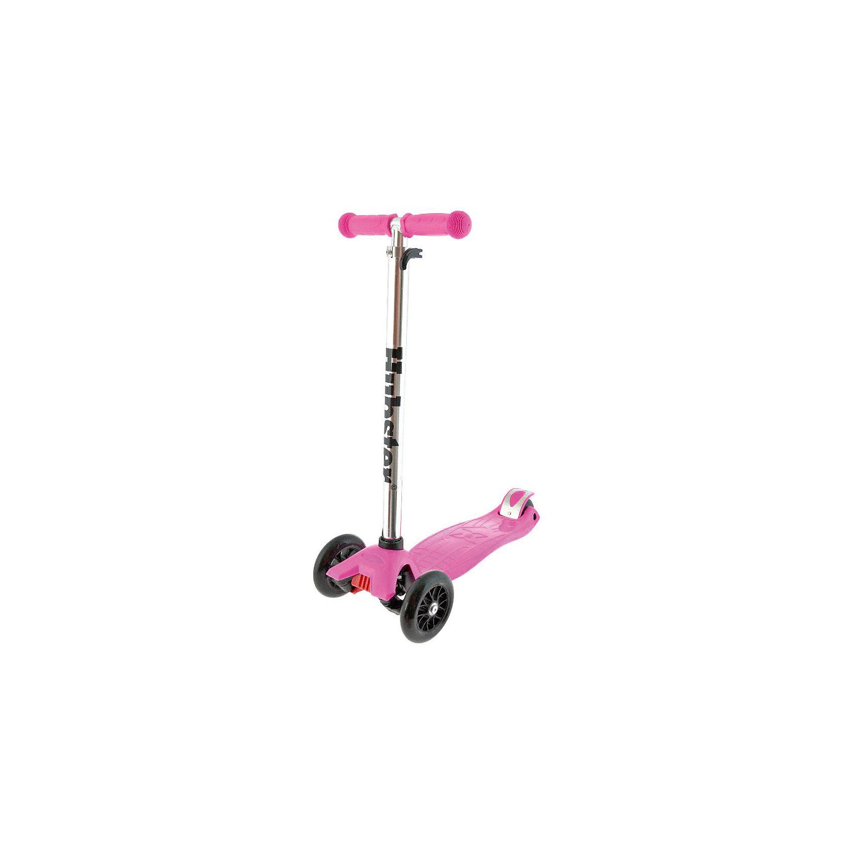 Самокат Maxi Kick Scooter,  розовыйВозраст: 3+<br>Вес: 2,5 кг. Максимальная нагрузка: 50 кг<br>Рама: алюминий, пластик, резина, ПУ материалы<br>Размер колес: 120 х 24 мм, задние 80 мм<br>Тормоз: Ножной<br>Ширина руля: 26 см<br>Регулируемая высота руля: 65 - 88 см<br>Длина платформы: 32 см<br>Ширина платформы: 13 см<br>Длина самоката: 57 см<br>Грипсы: Травмобезопасные с защитной подушечкой<br>Объем: 0.02 м?<br><br>Ширина мм: 590<br>Глубина мм: 280<br>Высота мм: 150<br>Вес г: 2500<br>Возраст от месяцев: 36<br>Возраст до месяцев: 60<br>Пол: Унисекс<br>Возраст: Детский<br>SKU: 5518962