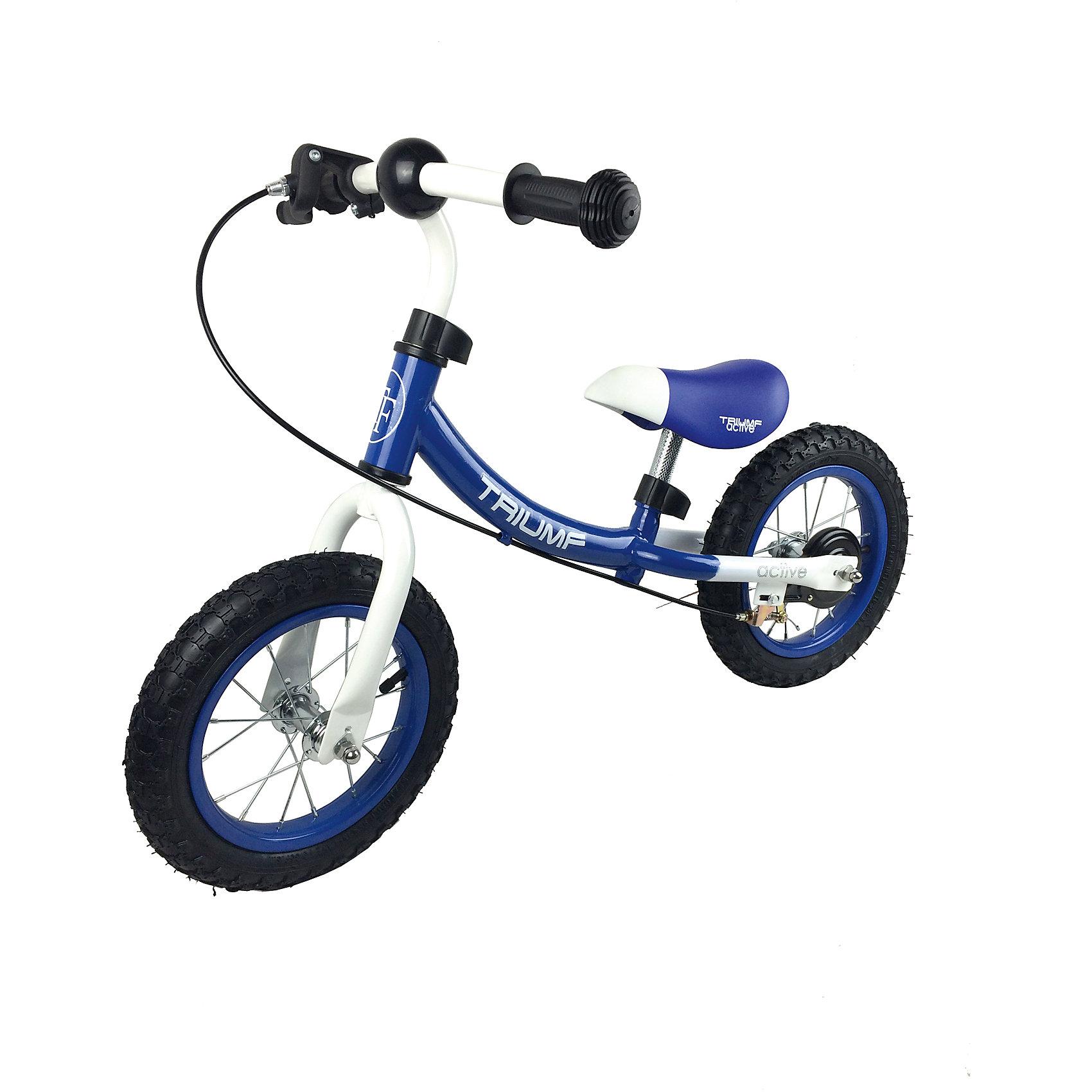 Беговел, Triumf active, синийСупер легкий беговел 2 в 1 с надувными колесами и ручным тормозом<br>Максимальный вес наездника 35кг.<br>Для детей от 2 до 5 лет.<br>Размеры (д*ш*в) 87*40*58<br>Размер колес: 12 дюймов.<br>Минимальная максимальная высота сиденья от пола: 33-37 см.<br>Минимальная максимальная высота ручки от пола: 52-55 см.<br>Масса брутто и нетто: 5.0 / 4.5 кг.<br>Прорезиненные ручки<br><br>Ширина мм: 700<br>Глубина мм: 150<br>Высота мм: 300<br>Вес г: 5000<br>Возраст от месяцев: 24<br>Возраст до месяцев: 60<br>Пол: Унисекс<br>Возраст: Детский<br>SKU: 5518983