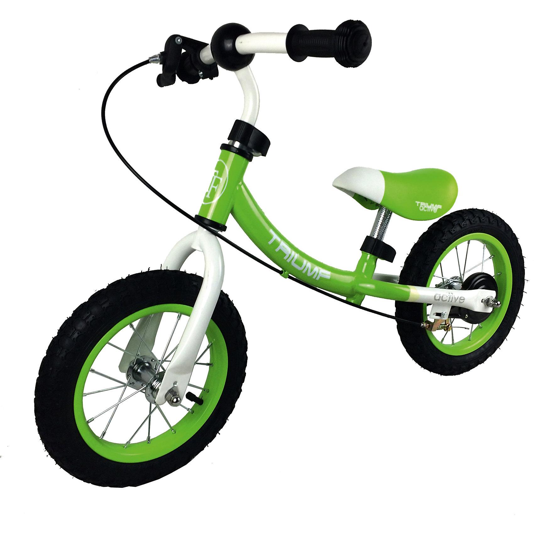 Беговел, Triumf active, зеленыйБеговелы<br>Супер легкий беговел 2 в 1 с надувными колесами и ручным тормозом<br>Максимальный вес наездника 35кг.<br>Для детей от 2 до 5 лет.<br>Размеры (д*ш*в) 87*40*58<br>Размер колес: 12 дюймов.<br>Минимальная максимальная высота сиденья от пола: 33-37 см.<br>Минимальная максимальная высота ручки от пола: 52-55 см.<br>Масса брутто и нетто: 5.0 / 4.5 кг.<br>Прорезиненные ручки<br><br>Ширина мм: 700<br>Глубина мм: 150<br>Высота мм: 300<br>Вес г: 5000<br>Возраст от месяцев: 24<br>Возраст до месяцев: 60<br>Пол: Унисекс<br>Возраст: Детский<br>SKU: 5518985