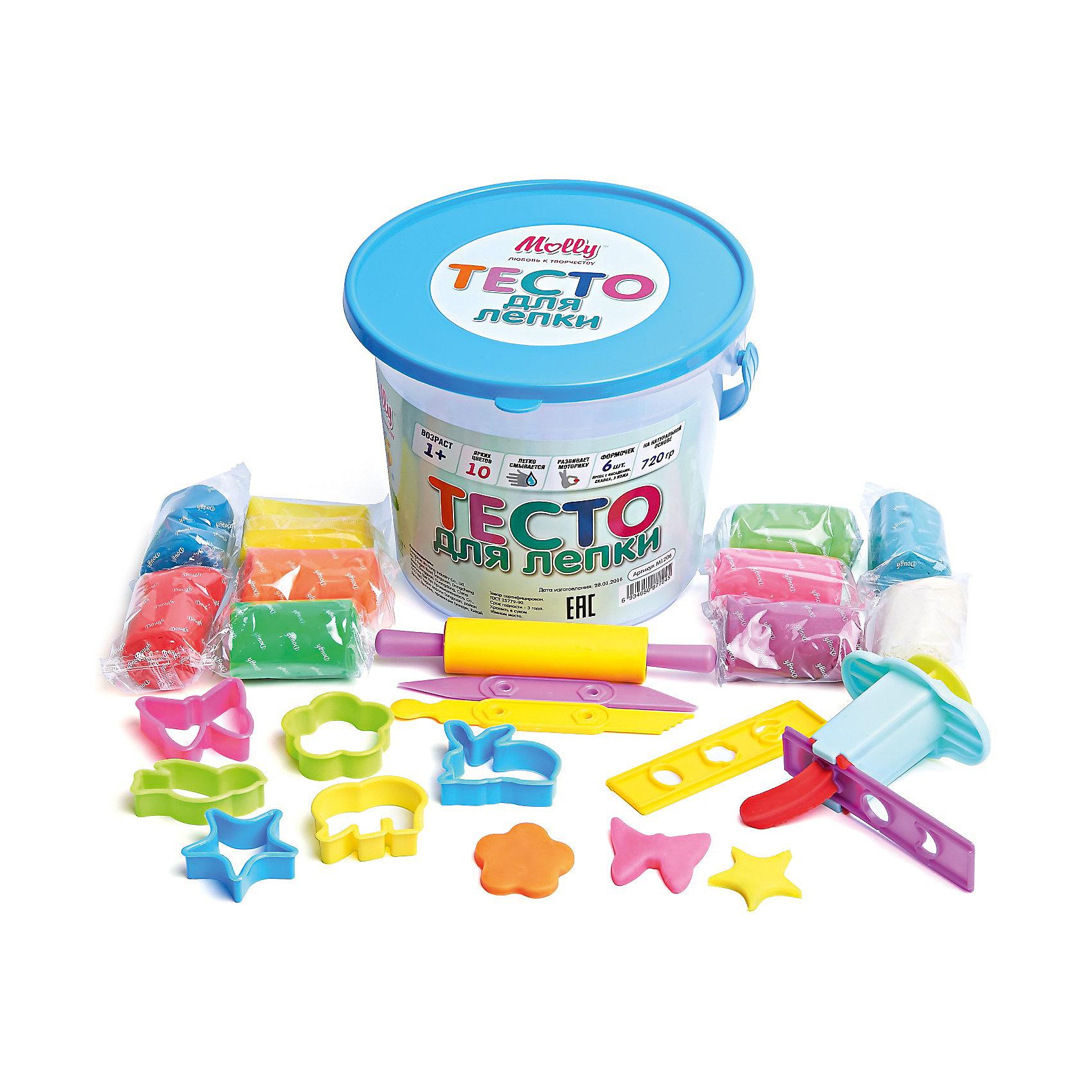 Тесто для лепки 10 цветов + пресс с насадками, 6 формочек, скалка, 2 ножаЛепка<br>Тесто для лепки 10 цветов + пресс с насадками, 6 формочек, скалка, 2 ножа.<br><br>Характеристики:<br><br>• Для детей в возрасте: от 1 года<br>• В наборе: 10 брусков разных цветов в индивидуальных упаковках (720 гр.), пресс с насадками, 6 формочек, скалка, 2 ножа<br>• Состав: пшеничная мука крахмал, вода, соль, пищевая добавка, пищевой краситель<br>• Упаковка: пластиковое ведерко с крышкой<br>• Размеры упаковки: 18х15х18 см.<br><br>Тесто может использоваться многократно при условии правильного хранения. Готовые подделки застывают на воздухе, не крошатся, обладают достаточной прочностью, после полного высыхания их можно раскрасить красками. Тесто для лепки абсолютно безопасно, гипоаллергенно. В набор также входят различные формочки, 2 ножа, скалка, пресс с насадками, с помощью которых малыш сможет создать множество ярких поделок.<br><br>Тесто для лепки 10 цветов + пресс с насадками, 6 формочек, скалка, 2 ножа можно купить в нашем интернет-магазине.<br><br>Ширина мм: 180<br>Глубина мм: 150<br>Высота мм: 180<br>Вес г: 725<br>Возраст от месяцев: 36<br>Возраст до месяцев: 2147483647<br>Пол: Унисекс<br>Возраст: Детский<br>SKU: 5519351
