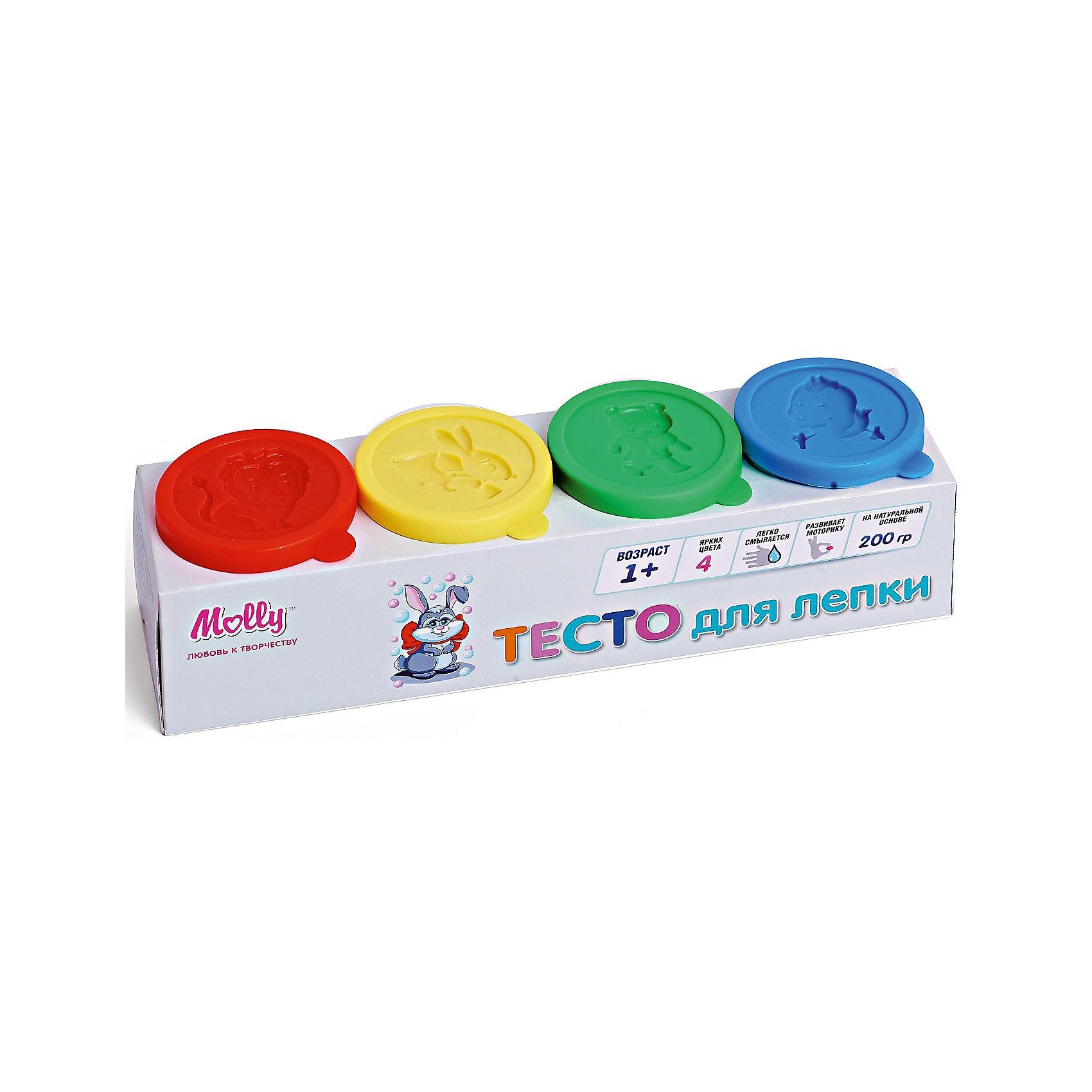 Тесто для лепки 4 цветаЛепка<br>Тесто для лепки 4 цвета.<br><br>Характеристики:<br><br>• Для детей в возрасте: от 1 года<br>• В наборе: 4 баночки теста разного цвета с формой для лепки на крышке (200 гр.)<br>• Цвета: желтый, красный, синий, зеленый<br>• Состав: пшеничная мука крахмал, вода, соль, пищевая добавка, пищевой краситель<br>• Размеры упаковки: 20х5,5х5,5 см.<br><br>Тесто разных цветов хорошо смешивается между собой, благодаря чему можно создавать бесконечное множество оттенков. Тесто может использоваться многократно при условии правильного хранения. Готовые подделки застывают на воздухе, не крошатся, обладают достаточной прочностью, после полного высыхания их можно раскрасить красками. Тесто для лепки абсолютно безопасно, гипоаллергенно. <br><br>Тесто для лепки 4 цвета можно купить в нашем интернет-магазине.<br><br>Ширина мм: 205<br>Глубина мм: 550<br>Высота мм: 550<br>Вес г: 200<br>Возраст от месяцев: 36<br>Возраст до месяцев: 2147483647<br>Пол: Унисекс<br>Возраст: Детский<br>SKU: 5519352