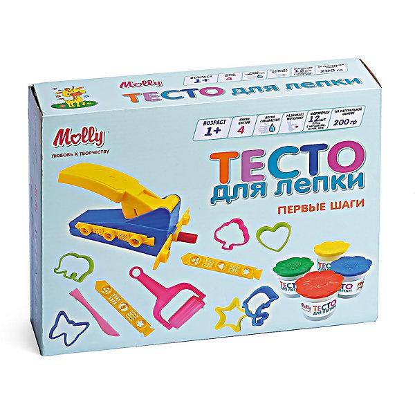Тесто для лепки Первые шаги, 4 цвета+ 1 пресс, 12 формочек, 1 каток, 1 ножТесто для лепки<br>Тесто для лепки Первые шаги, 4 цвета+ 1 пресс, 12 формочек, 1 каток, 1 нож.<br><br>Характеристики:<br><br>• Для детей в возрасте: от 1 года<br>• В наборе: 4 баночки теста разного цвета (по 50 гр.), пресс, 12 формочек, каток, нож<br>• Цвета: желтый, красный, синий, зеленый<br>• Состав: пшеничная мука крахмал, вода, соль, пищевая добавка, пищевой краситель<br>• Упаковка: картонная коробка<br>• Размер упаковки: 26х21х6,5 см.<br><br>Тесто может использоваться многократно при условии правильного хранения. Готовые подделки застывают на воздухе, не крошатся, обладают достаточной прочностью, после полного высыхания их можно раскрасить красками. Тесто для лепки абсолютно безопасно, гипоаллергенно. В набор также входят различные формочки, пресс, каток и нож, с помощью которых малыш сможет создать множество ярких поделок. <br><br>Тесто для лепки Первые шаги, 4 цвета+ 1 пресс, 12 формочек, 1 каток, 1 нож можно купить в нашем интернет-магазине.<br><br>Ширина мм: 265<br>Глубина мм: 210<br>Высота мм: 650<br>Вес г: 260<br>Возраст от месяцев: 36<br>Возраст до месяцев: 2147483647<br>Пол: Унисекс<br>Возраст: Детский<br>SKU: 5519354