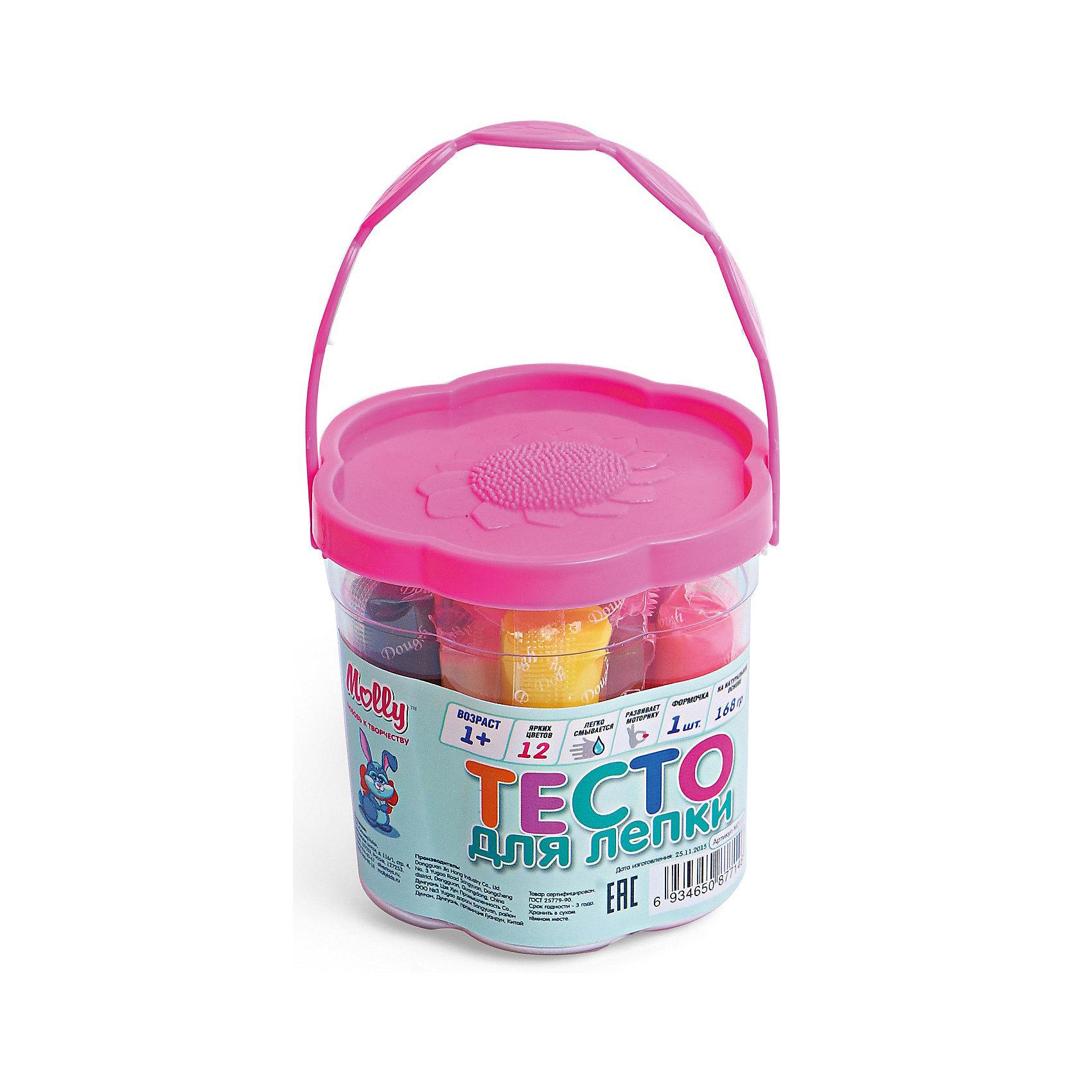 Тесто для лепки 12 цветов  + 1  формочкаЛепка<br>Тесто для лепки 12 цветов  + 1  формочка.<br><br>Характеристики:<br><br>• Для детей в возрасте: от 1 года<br>• В наборе: 12 брусков разных цветов в индивидуальных упаковках (168 гр.), формочка<br>• Длина бруска теста: 5 см.<br>• Состав: пшеничная мука крахмал, вода, соль, пищевая добавка, пищевой краситель<br>• Упаковка: пластиковое ведерко с крышкой<br>• Размер упаковки: 8х8х8 см.<br><br>Тесто может использоваться многократно при условии правильного хранения. Готовые подделки застывают на воздухе, не крошатся, обладают достаточной прочностью, после полного высыхания их можно раскрасить красками. Тесто для лепки абсолютно безопасно, гипоаллергенно. В наборе имеется пластиковая формочка для моделирования.<br><br>Тесто для лепки 12 цветов  + 1  формочка можно купить в нашем интернет-магазине.<br><br>Ширина мм: 70<br>Глубина мм: 70<br>Высота мм: 70<br>Вес г: 125<br>Возраст от месяцев: 36<br>Возраст до месяцев: 2147483647<br>Пол: Унисекс<br>Возраст: Детский<br>SKU: 5519355