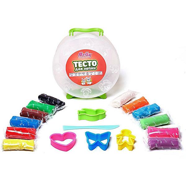 Тесто для лепки 12 цветов + 4  формочки, ножТесто для лепки<br>Тесто для лепки 12 цветов + 4  формочки, нож.<br><br>Характеристики:<br><br>• Для детей в возрасте: от 1 года<br>• В наборе: 12 брусков разных цветов в индивидуальных упаковках (180 гр.), 4 формочки, нож<br>• Длина бруска теста: 6 см.<br>• Состав: пшеничная мука крахмал, вода, соль, пищевая добавка, пищевой краситель<br>• Упаковка: круглая пластиковая коробка с ручками<br>• Размер упаковки: 15х15х6 см.<br><br>Тесто может использоваться многократно при условии правильного хранения. Готовые подделки застывают на воздухе, не крошатся, обладают достаточной прочностью, после полного высыхания их можно раскрасить красками. Тесто для лепки абсолютно безопасно, гипоаллергенно. В наборе имеются пластиковые формочки и нож, с помощью которых малыш сможет создать множество ярких поделок. <br><br>Тесто для лепки 12 цветов + 4  формочки, нож можно купить в нашем интернет-магазине.<br><br>Ширина мм: 135<br>Глубина мм: 145<br>Высота мм: 500<br>Вес г: 180<br>Возраст от месяцев: 36<br>Возраст до месяцев: 2147483647<br>Пол: Унисекс<br>Возраст: Детский<br>SKU: 5519356