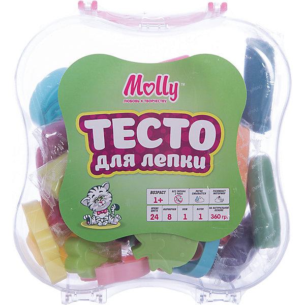 Тесто для лепки 24 цвета + 8  формочек, нож, катокТесто для лепки<br>Тесто для лепки 24 цвета + 8  формочек, нож, каток.<br><br>Характеристики:<br><br>• Для детей в возрасте: от 1 года<br>• В наборе: 24 бруска разных цветов в индивидуальных упаковках (360 гр.), 8 формочек, нож, каток<br>• Длина бруска теста: 6 см.<br>• Состав: пшеничная мука крахмал, вода, соль, пищевая добавка, пищевой краситель<br>• Упаковка: прозрачный пластиковый кейс с ручкой<br>• Размер упаковки: 20х17х6 см.<br><br>Тесто может использоваться многократно при условии правильного хранения. Готовые подделки застывают на воздухе, не крошатся, обладают достаточной прочностью, после полного высыхания их можно раскрасить красками. Тесто для лепки абсолютно безопасно, гипоаллергенно. В наборе имеются пластиковые формочки, нож и каток, с помощью которых малыш сможет создать множество ярких поделок.<br><br>Тесто для лепки 24 цвета + 8  формочек, нож, каток можно купить в нашем интернет-магазине.<br><br>Ширина мм: 165<br>Глубина мм: 180<br>Высота мм: 650<br>Вес г: 360<br>Возраст от месяцев: 36<br>Возраст до месяцев: 2147483647<br>Пол: Унисекс<br>Возраст: Детский<br>SKU: 5519357