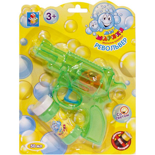 Мыльные пузыри Мы-шарики! Револьвер, со светом, бутылочка 50 мл, синий, зелёный, 1Toy