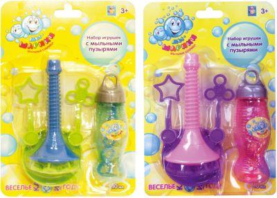Набор с аксессуарами для мыльных пузыей Мы-шарики!, ёмкость для раствора, рожок, бут. 110 мл., 2 цвета, 1Toy