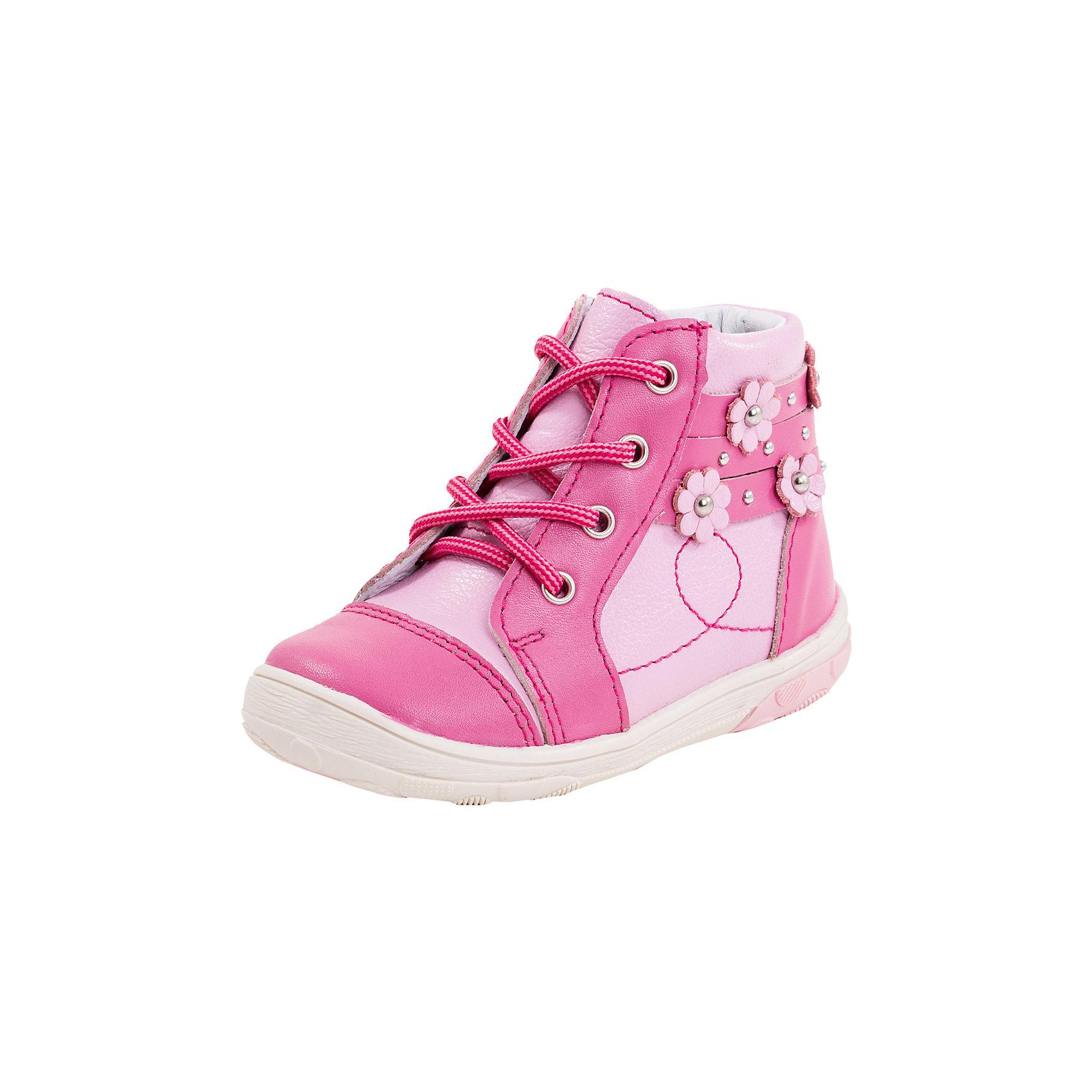 Ботинки для девочки КотофейБотинки для девочки Котофей<br>Милые ботиночки выполнены полностью из натуральной кожи. Кожаная подкладка абсорбирует образующуюся внутри обуви влагу и гарантирует полный комфорт. Удобная застежка-молния позволяет легко обувать и снимать ботинки, а функциональная шнуровка обеспечит идеальную фиксацию обуви на ноге.  Мягкий манжет создает комфорт при ходьбе и предотвращает натирание ножки ребенка. Подошва с небольшим заходом на носочную часть  увеличит долговечность ботинок. Нарядные ботиночки, декорированные ремешками с металлическими клепками и изящными цветами, будут прекрасным дополнением гардероба маленькой леди.<br><br>Ширина мм: 262<br>Глубина мм: 176<br>Высота мм: 97<br>Вес г: 427<br>Цвет: розовый<br>Возраст от месяцев: 21<br>Возраст до месяцев: 24<br>Пол: Женский<br>Возраст: Детский<br>Размер: 24,21,22,23<br>SKU: 5522229