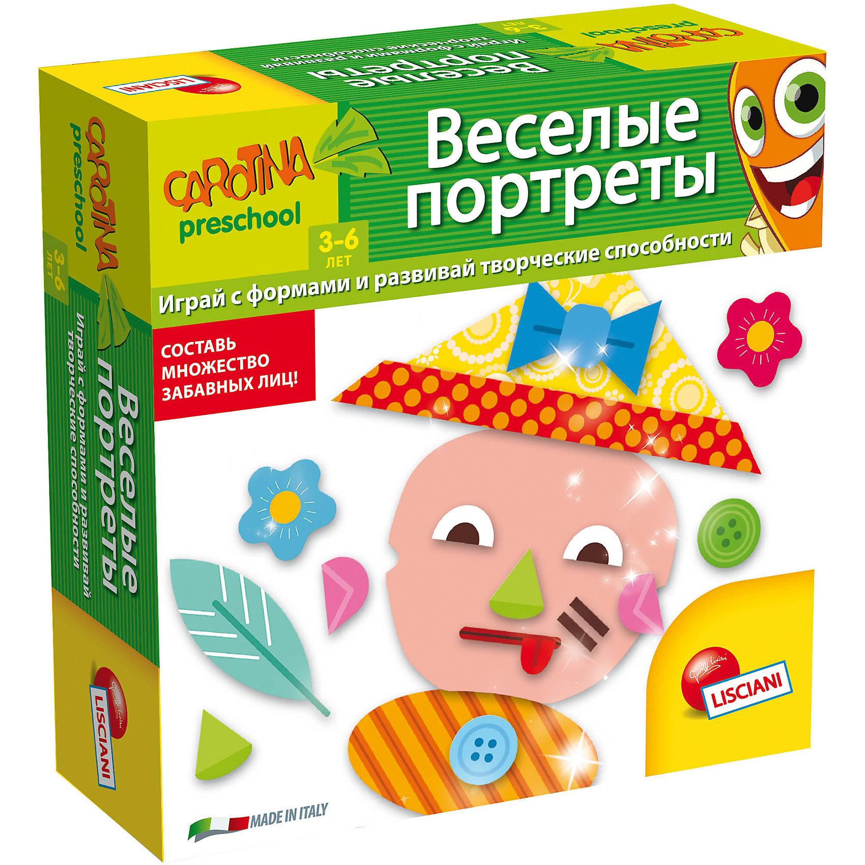 Обучающая игра Веселые портреты, LiscianiОкружающий мир<br>Обучающая игра Весёлые портреты, Lisciani<br><br>Характеристики:<br><br>• В набор входит: 6 наборов с портретами, 72 буквы, инструкция<br>• Размер упаковки: 18х5х18 см.<br>• Состав: картон, бумага<br>• Вес: 420 г.<br>• Для детей в возрасте: от 3 лет<br>• Страна производитель: Италия<br><br>Целых шесть наборов весёлых портретов, которые можно комбинировать на своё усмотрение, создавая новых и новых персонажей. Теперь можно учить части лица и развивать воображение! Занимаясь с этими играми дети смогут развивать память, внимательность, логическое и пространственное мышление, моторику рук, усидчивость, терпение и просто весело и с пользой проведут время! <br><br>Обучающую игру Весёлый портреты, Lisciani можно купить в нашем интернет-магазине.<br><br>Ширина мм: 177<br>Глубина мм: 177<br>Высота мм: 55<br>Вес г: 416<br>Возраст от месяцев: 36<br>Возраст до месяцев: 2147483647<br>Пол: Унисекс<br>Возраст: Детский<br>SKU: 5522894