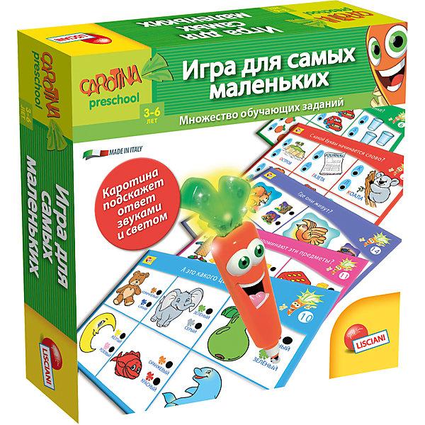 Обучающая игра Игра для самых маленьких с интерактивной морковкой, LiscianiПособия для обучения счёту<br>Обучающая игра Лаборатория 10 игр с интерактивной морковкой, Lisciani<br><br>Характеристики:<br><br>• В набор входит: морковка, карточки (24 шт.), алфавит, 2 пазла, инструкция<br>• Размер упаковки: 34,5х5х25,5 см.<br>• Элементы питания: батарейки (включены в набор)<br>• Состав: картон, пластик<br>• Вес: 680 г.<br>• Для детей в возрасте: от 3 лет<br>• Страна производитель: Италия<br><br>В этот большой набор вошли игры и задания с электронной морковкой, которая говорит и светится. С помощью морковки ребёнку нужно отмечать правильны варианты в электронных карточках и алфивите, обучаясь в таком ключе ребёнок развлекается. <br><br>С помощью этого набора игр дети смогут выучить названия животных, цифры, азбуку, обучатся основам логики, расширят словарный запас, научатся читать свои первые слова, разовьют память. С таким набором ребёнку будут по плечу все необходимые начальные навыки в непринуждённой и весёлой обстановке.<br><br>Обучающую игру Лаборатория 10 игр с интерактивной морковкой, Lisciani можно купить в нашем интернет-магазине.<br><br>Ширина мм: 215<br>Глубина мм: 215<br>Высота мм: 45<br>Вес г: 300<br>Возраст от месяцев: 36<br>Возраст до месяцев: 2147483647<br>Пол: Унисекс<br>Возраст: Детский<br>SKU: 5522895