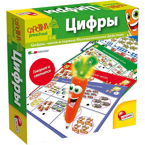 Обучающая игра Цифры с интерактивной морковкой, LiscianiПособия для обучения счёту<br>Обучающая игра Цифры с интерактивной морковкой, Lisciani<br><br>Характеристики:<br><br>• В набор входит: 8 карточек, морковка, инструкция<br>• Размер упаковки: 21х6х21 см.<br>• Элементы питания: включены <br>• Состав: картон, пластик<br>• Вес: 300 г.<br>• Для детей в возрасте: от 3 до 6 лет<br>• Страна производитель: Италия<br><br>Цветные карточки содержат задания с двух сторон, на них изображены животные, фрукты, овощи, повседневные предметы. Весёлая морковка поможет познакомить малыша с миром цифр и счёта, она загорается и играем мелодии. <br><br>Помечая морковкой ответы ребёнок сможет сравнивать числа, показывать цифры, соответствующие предметам. С таким набором ребёнку будут по плечу все необходимые начальные математические навыки, а игра будет интересной и увлекательной.<br><br>Обучающую игру Цифры с интерактивной морковкой, Lisciani можно купить в нашем интернет-магазине.<br>Ширина мм: 254; Глубина мм: 254; Высота мм: 60; Вес г: 300; Возраст от месяцев: 36; Возраст до месяцев: 2147483647; Пол: Унисекс; Возраст: Детский; SKU: 5522898;