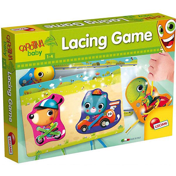 Обучающая игра Шнуровка, LiscianiШнуровки<br>Обучающая игра Шнуровка, Lisciani<br><br>Характеристики:<br><br>• В набор входит: 6 фигурок, 2 карточки, 8 шнурков, инструкция<br>• Размер упаковки: 35х5х25,5 см.<br>• Состав: картон, пластик, текстиль<br>• Вес: 550 г.<br>• Для детей в возрасте: от 1 до 4 лет<br>• Страна производитель: Италия<br><br>Серия животных на средствах передвижения поможет увеличить словарный запас и выучить названия животных и транспорта. Очаровательные зверьки перемещаются на машине, мотоцикле, самокате, скутере, роликовых коньках и скейтборде. В коллекцию животных вошли: кот, черепаха, цыплёнок, пёс, слон и ёжик. <br><br>Целых восемь качественных цветных шнурков предназначены для игры с этим набором. Ребёнок может продевать шнуровку в каждой карточке, а инструкция подскажет новые способы шнурования. В набор ходит также и две гоночные карточки, которые можно использовать для соревнований на скорость шнурования.<br><br>Обучающую игру Шнуровка, Lisciani можно купить в нашем интернет-магазине.<br><br>Ширина мм: 360<br>Глубина мм: 275<br>Высота мм: 60<br>Вес г: 550<br>Возраст от месяцев: 12<br>Возраст до месяцев: 2147483647<br>Пол: Унисекс<br>Возраст: Детский<br>SKU: 5522901