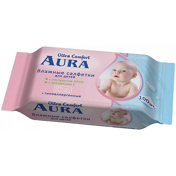 Влажные салфетки для детей, 100шт., Aura Ultra ComfortВлажные салфетки<br>Влажные салфетки для детей, 100шт., Aura Ultra Comfort (Аура Ультра Комфорт)<br><br>Характеристики:<br><br>• мягкие и гипоаллергенные<br>• содержат экстракт алоэ и витамин Е<br>• нейтральный уровень pH<br>• не содержат спирт<br>• количество: 100 шт.<br>• размер упаковки: 22х5х9 см<br>• вес: 245 грамм<br><br>Влажные салфетки Aura Ultra Comfort помогут вам бережно очистить кожу малыша от загрязнений. Мягкое полотно салфеток пропитано гипоаллергенным раствором с содержанием экстракта алоэ и витамина Е. Они оказывают успокаивающее и заживляющее действие, не вызывая сухости и стянутости кожи. Салфетки не содержат спирт.<br><br>Влажные салфетки для детей, 100шт., Aura Ultra Comfort (Аура Ультра Комфорт) вы можете купить в нашем интернет-магазине.<br><br>Ширина мм: 200<br>Глубина мм: 100<br>Высота мм: 50<br>Вес г: 245<br>Возраст от месяцев: 0<br>Возраст до месяцев: 1188<br>Пол: Унисекс<br>Возраст: Детский<br>SKU: 5523088