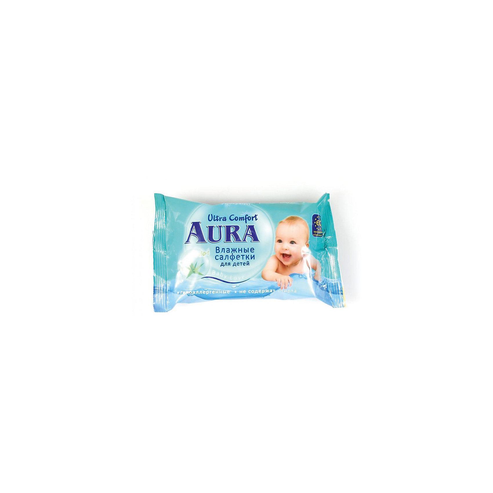 Влажные салфетки для детей, 60шт., Aura Ultra ComfortВлажные салфетки<br>Влажные салфетки для детей, 60шт., Aura Ultra Comfort (Аура Ультра Комфорт)<br><br>Характеристики:<br><br>• мягкие и гипоаллергенные<br>• содержат экстракт алоэ <br>• нейтральный уровень pH<br>• не содержат спирт<br>• количество: 60 шт.<br>• вес: 230 грамм<br><br>Влажные салфетки Aura Ultra Comfort помогут вам бережно очистить кожу малыша от загрязнений. Мягкое полотно салфеток пропитано гипоаллергенным раствором с содержанием экстракта алоэ. Он оказывает успокаивающее и заживляющее действие, не вызывая сухости и стянутости кожи. Салфетки не содержат спирт.<br><br>Влажные салфетки для детей, 60шт., Aura Ultra Comfort (Аура Ультра Комфорт) вы можете купить в нашем интернет-магазине.<br><br>Ширина мм: 200<br>Глубина мм: 100<br>Высота мм: 50<br>Вес г: 230<br>Возраст от месяцев: 0<br>Возраст до месяцев: 1188<br>Пол: Унисекс<br>Возраст: Детский<br>SKU: 5523091