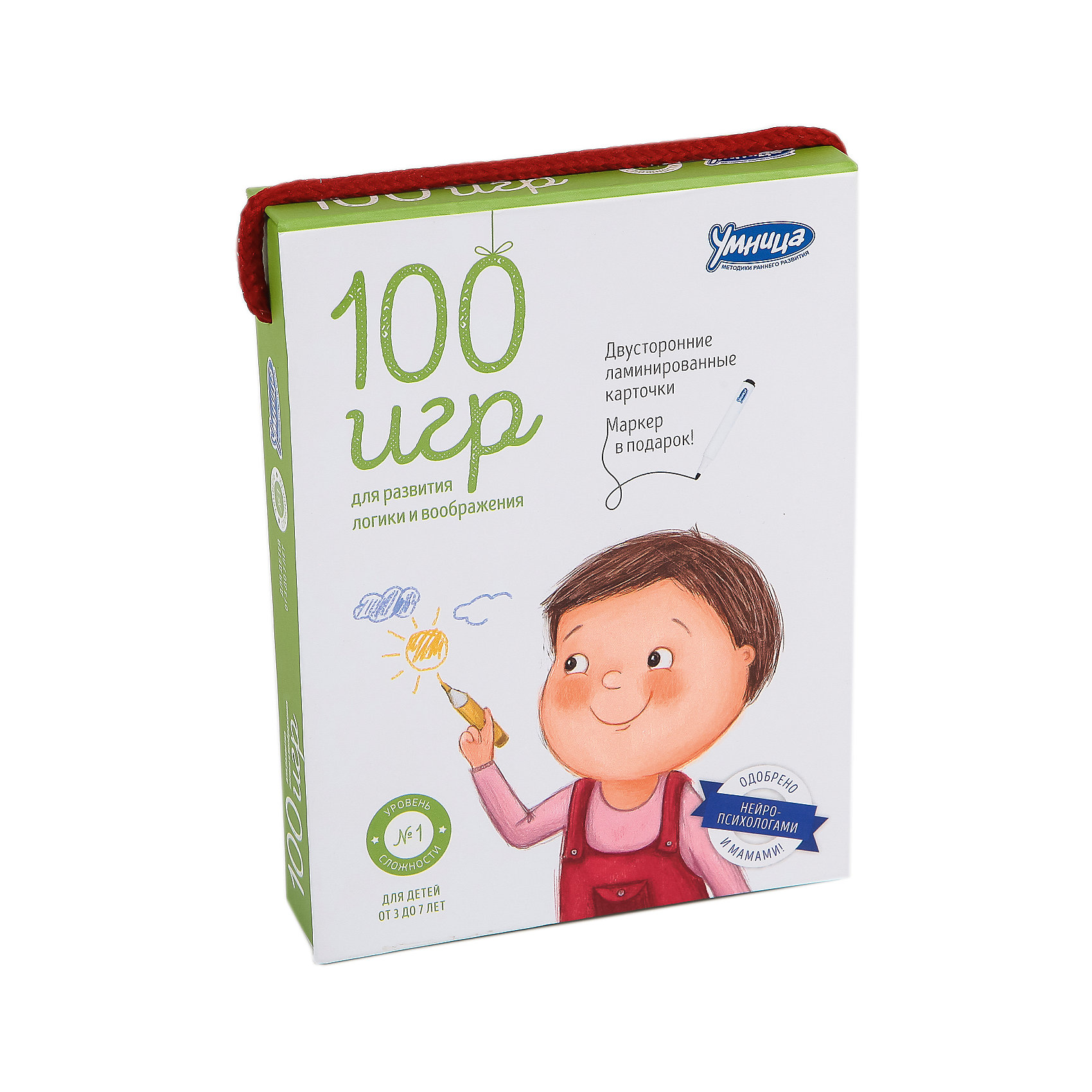 Карточки 100 игр, Уровень 1Обучающие карточки<br>Полезный, увлекательный и компактный: «100 игр» – комплект для одновременного развития логического и творческого мышления малышей. В удобной упаковке-сумочке собраны яркие, интересные карточки с заданиями, играми, головоломками. На карточках можно рисовать маркером: рисуй, стирай и снова рисуй! Теперь вы с ребёнком ни за что не заскучаете в дороге, в очереди, на пляже, на даче, на пикнике, в гостях или дома. Маркер в подарок!<br>Развивает: Логическое, образное и творческое мышление, фантазию, память, аналитические способности, внимание, мелкую моторику.<br>Результат: Малыш нестандартно, образно мыслит, умеет находить закономерности, анализировать.<br><br>Ширина мм: 115<br>Глубина мм: 155<br>Высота мм: 300<br>Вес г: 340<br>Возраст от месяцев: 36<br>Возраст до месяцев: 2147483647<br>Пол: Унисекс<br>Возраст: Детский<br>SKU: 5523166