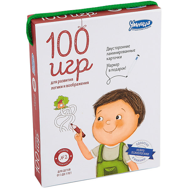 Карточки 100 игр, Уровень 2Обучающие карточки<br>Характеристики:<br><br>• Вид игр: обучающие, развивающие<br>• Серия: Развивающие карточки<br>• Материал: картон, пластик<br>• Комплектация: 50 двухсторонних карточек, маркер, методические рекомендации родителям<br>• Размеры карточек (В*Ш): 15*11 см<br>• Тип упаковки: картонная коробка<br>• Размеры упаковки (Д*Ш*В): 11,5*15,5*30 см<br>• Вес в упаковке: 340 г<br><br>Карточки 100 игр, Уровень 2 состоят из 50 двухсторонних карточек с разнообразными заданиями, направленными на развитие внимания, логического мышления, зрительной памяти. Среди заданий: дорисуй картинку, выбери путь, найди отличия, найди указанные предметы и т.д. Для выполнения заданий в комплекте предусмотрен маркер, который легко стирается с поверхности.<br><br>Карточки 100 игр, Уровень 2 можно купить в нашем интернет-магазине.<br>Ширина мм: 115; Глубина мм: 155; Высота мм: 300; Вес г: 340; Возраст от месяцев: 36; Возраст до месяцев: 2147483647; Пол: Унисекс; Возраст: Детский; SKU: 5523167;