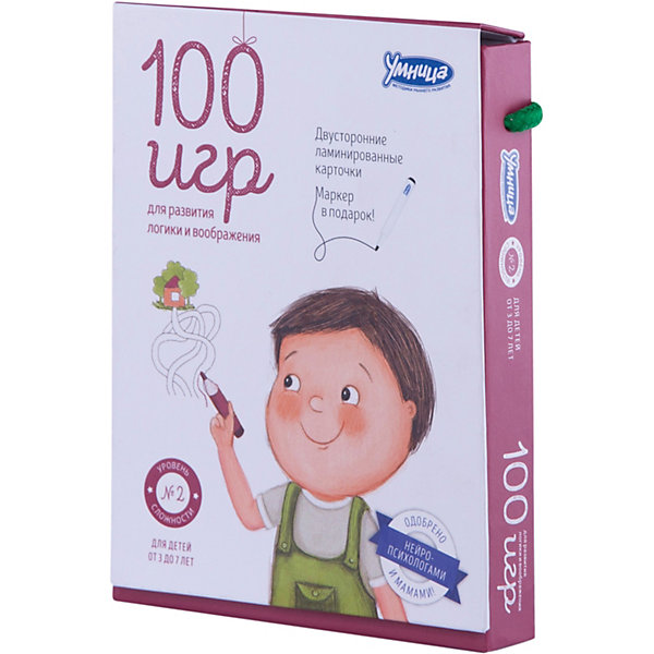 Карточки 100 игр, Уровень 3Обучающие карточки<br>Характеристики:<br><br>• Вид игр: обучающие, развивающие<br>• Серия: Развивающие карточки<br>• Материал: картон, пластик<br>• Комплектация: 50 двухсторонних карточек, маркер, методические рекомендации родителям<br>• Размеры карточек (В*Ш): 15*11 см<br>• Тип упаковки: картонная коробка<br>• Размеры упаковки (Д*Ш*В): 11,5*15,5*30 см<br>• Вес в упаковке: 340 г<br><br>Карточки 100 игр, Уровень 3 состоят из 50 двухсторонних карточек с разнообразными заданиями, направленными на развитие внимания, логического мышления, зрительной памяти. Среди заданий: дорисуй картинку, выбери путь, найди отличия, найди указанные предметы и т.д. Для выполнения заданий в комплекте предусмотрен маркер, который легко стирается с поверхности.<br><br>Карточки 100 игр, Уровень 3 можно купить в нашем интернет-магазине.<br>Ширина мм: 115; Глубина мм: 155; Высота мм: 300; Вес г: 340; Возраст от месяцев: 36; Возраст до месяцев: 2147483647; Пол: Унисекс; Возраст: Детский; SKU: 5523168;