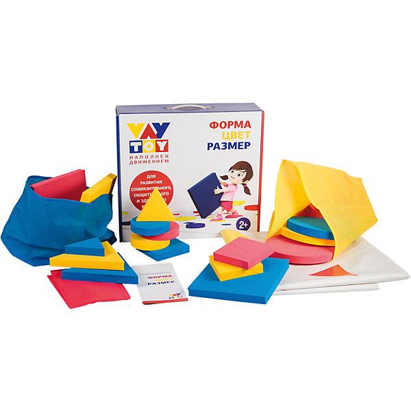 Развивающая игра Форма, цвет, размерИзучаем цвета и формы<br>Характеристики:<br><br>• Вид игр: обучающие, развивающие<br>• Серия: Развивающие игры<br>• Материал: картон, полимер<br>• Комплектация: игровое поле, 18 геометрических фигур, мешочки для фигур, брошюра с вариантами игр<br>• Тип упаковки: картонная коробка с ручкой<br>• Размеры упаковки (Д*Ш*В): 38*34,5*95 см<br>• Вес в упаковке: 1 кг 450 г<br>• Особенности ухода: допускается сухая и влажная чистка<br><br>Развивающая игра Форма, цвет, размер состоит из набора напольного игрового поля размером 1,5*1,4 м,  18 объемных геометрических фигур: круг, квадрат, треугольник, 3-х мешочков и пособия для родителей. В руководстве описаны 10 вариантов игр разной сложности, но если включить воображение и фантазию, то вариантов игр можно придумать огромное количество. Фигуры выполнены из яркого и безопасного полимера, имеют разные размеры и цвет. Их можно использовать и в качестве конструктора.<br><br>Развивающую игру Форма, цвет, размер можно купить в нашем интернет-магазине.<br><br>Ширина мм: 380<br>Глубина мм: 345<br>Высота мм: 950<br>Вес г: 1450<br>Возраст от месяцев: 36<br>Возраст до месяцев: 2147483647<br>Пол: Унисекс<br>Возраст: Детский<br>SKU: 5523188