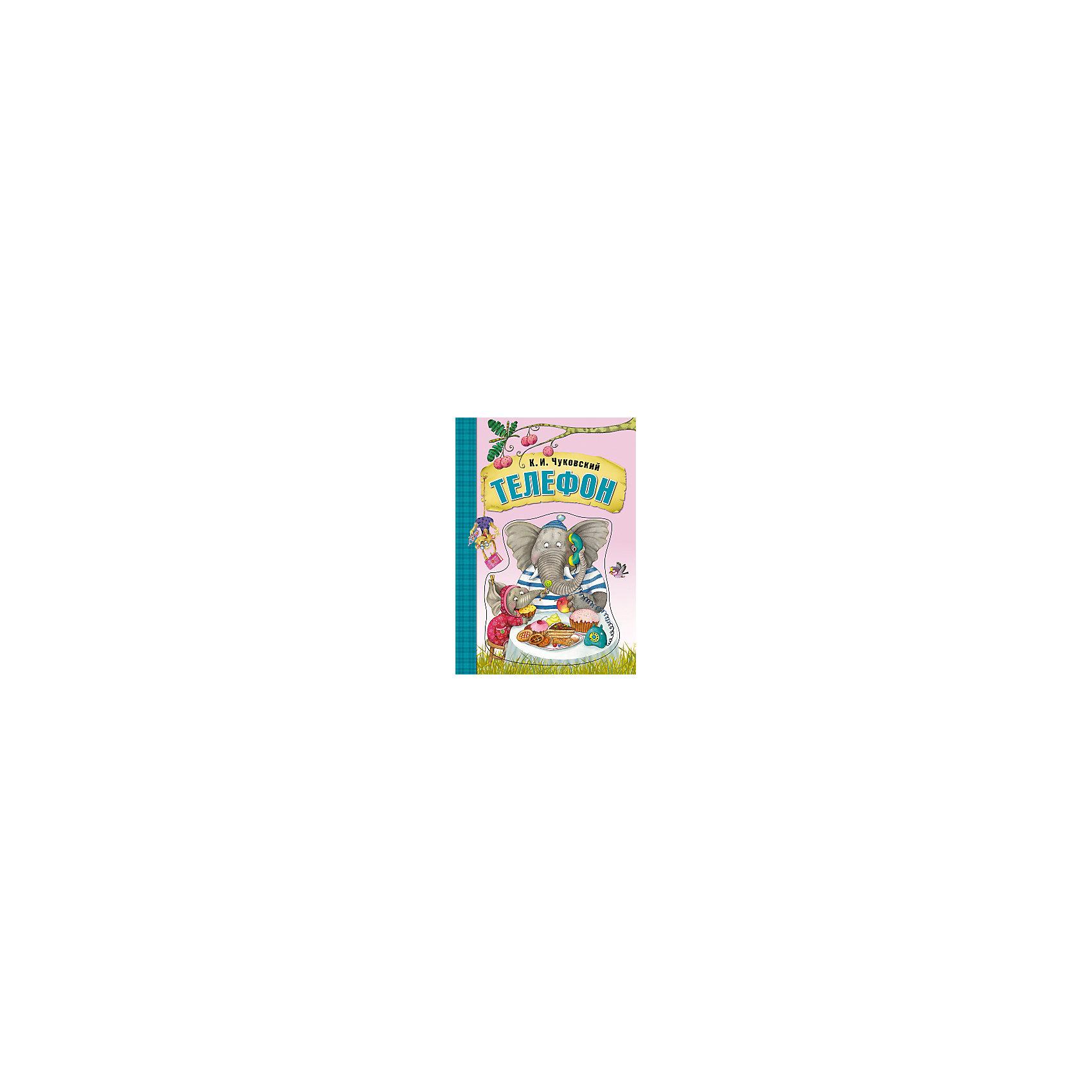 Телефон, картон, К.И. ЧуковскийЧуковский К.И.<br>Сказки К.И. Чуковского Телефон, книга на картоне.<br><br>Характеристики:<br><br>• Для детей в возрасте: от 1,5 до 7 лет<br>• Автор: Корней Иванович Чуковский<br>• Художник: Любовь Еремина<br>• Издательство: Мозаика-Синтез<br>• Серия: Любимые сказки К. И. Чуковского. Книги на картоне<br>• Тип обложки: картон с объемной фигурной вставкой<br>• Иллюстрации: цветные<br>• Количество страниц: 16 (плотный ламинированный картон)<br>• Размер: 190х270х10 мм.<br>• Вес: 367 гр.<br>• ISBN: 9785431506963<br><br>Книга на картоне с красивой объемной фигурной вставкой на обложке, дополненной изображением говорящего по телефону слона, обязательно станет любимой книгой вашего малыша! Сказка Корнея Ивановича Чуковского «Телефон» знакома всем с детства. Страницы книги, выполненные из плотного картона, будут очень удобны для маленьких детских ручек и непоседы смогут самостоятельно переворачивать их, наслаждаясь понравившимися картинками. <br><br>Книгу на картоне Сказки К.И. Чуковского Телефон можно купить в нашем интернет-магазине.<br><br>Ширина мм: 100<br>Глубина мм: 190<br>Высота мм: 270<br>Вес г: 367<br>Возраст от месяцев: 12<br>Возраст до месяцев: 84<br>Пол: Унисекс<br>Возраст: Детский<br>SKU: 5523243