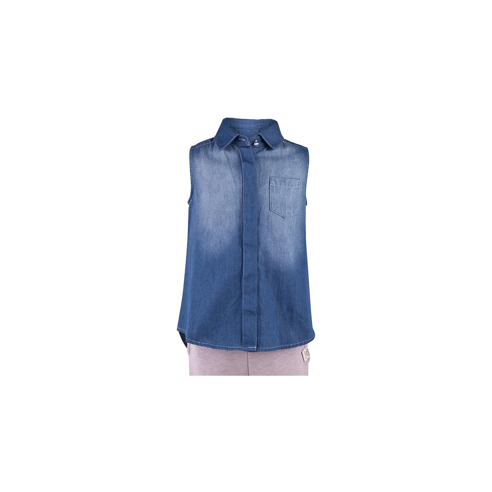 Блузка джинсовая для девочки  BUTTON BLUEБлузки и рубашки<br>Блузка для девочки  BUTTON BLUE<br>Недорогие детские блузки  - не значит, скучные! В новом весенне-летнем сезоне блузка без рукавов - базовая составляющая модного  гардероба. Именно поэтому детская блузка без рукавов - хит летней коллекции от Button Blue! Простая, удобная и очень элегантная модель в компании с шортами, брюками, юбкой сделает повседневный образ ребенка модным и современным.<br>Состав:<br>100%  хлопок<br><br>Ширина мм: 174<br>Глубина мм: 10<br>Высота мм: 169<br>Вес г: 157<br>Цвет: голубой<br>Возраст от месяцев: 144<br>Возраст до месяцев: 156<br>Пол: Женский<br>Возраст: Детский<br>Размер: 158,98,104,110,116,122,128,134,140,146,152<br>SKU: 5523283
