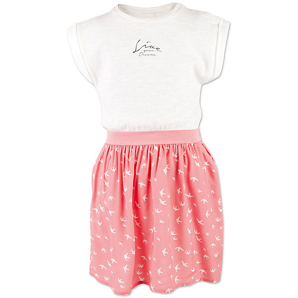 Платье для девочки  BUTTON BLUEПлатья и сарафаны<br>Платье для девочки  BUTTON BLUE<br>Прекрасный летний вариант - комбинированное детское платье из однотонного трикотажа и текстиля в мелкий рисунок. Модный силуэт, комфортная форма делают платье для девочки отличным решением для каждого дня лета. Если вы хотите приобрести одновременно и красивую, и практичную, и удобную вещь, вам стоит купить детское платье от Button Blue. Низкая цена не окажет влияния на бюджет семьи, позволив создать яркий базовый гардероб для долгожданных каникул!<br>Состав:<br>100%  хлопок/ 100%  вискоза<br><br>Ширина мм: 236<br>Глубина мм: 16<br>Высота мм: 184<br>Вес г: 177<br>Цвет: коралловый<br>Возраст от месяцев: 144<br>Возраст до месяцев: 156<br>Пол: Женский<br>Возраст: Детский<br>Размер: 158,98,104,110,116,122,128,134,140,146,152<br>SKU: 5523307