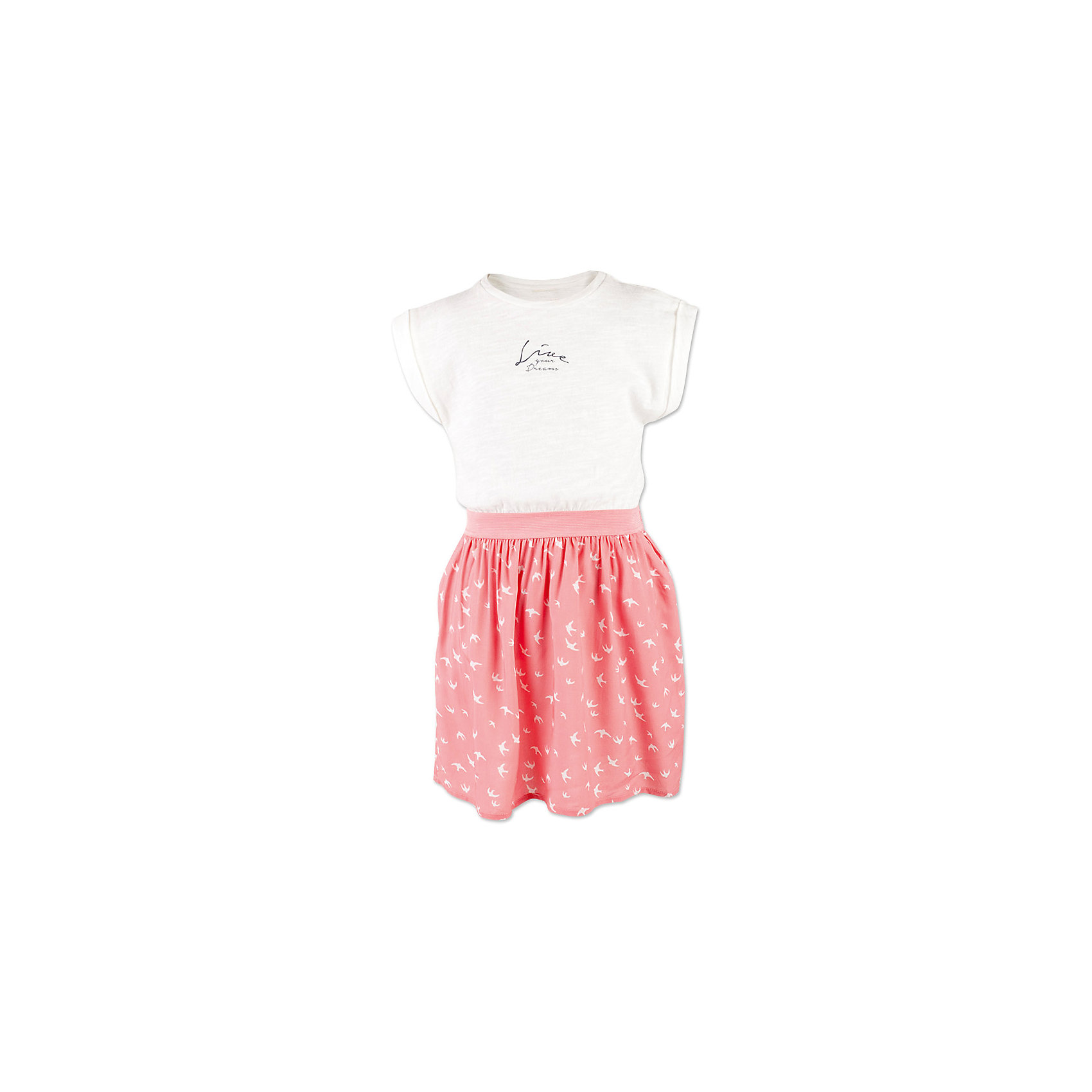 Платье для девочки  BUTTON BLUEПлатье для девочки  BUTTON BLUE<br>Прекрасный летний вариант - комбинированное детское платье из однотонного трикотажа и текстиля в мелкий рисунок. Модный силуэт, комфортная форма делают платье для девочки отличным решением для каждого дня лета. Если вы хотите приобрести одновременно и красивую, и практичную, и удобную вещь, вам стоит купить детское платье от Button Blue. Низкая цена не окажет влияния на бюджет семьи, позволив создать яркий базовый гардероб для долгожданных каникул!<br>Состав:<br>100%  хлопок/ 100%  вискоза<br><br>Ширина мм: 236<br>Глубина мм: 16<br>Высота мм: 184<br>Вес г: 177<br>Цвет: коралловый<br>Возраст от месяцев: 108<br>Возраст до месяцев: 120<br>Пол: Женский<br>Возраст: Детский<br>Размер: 140,146,152,158,98,104,110,116,122,128,134<br>SKU: 5523307