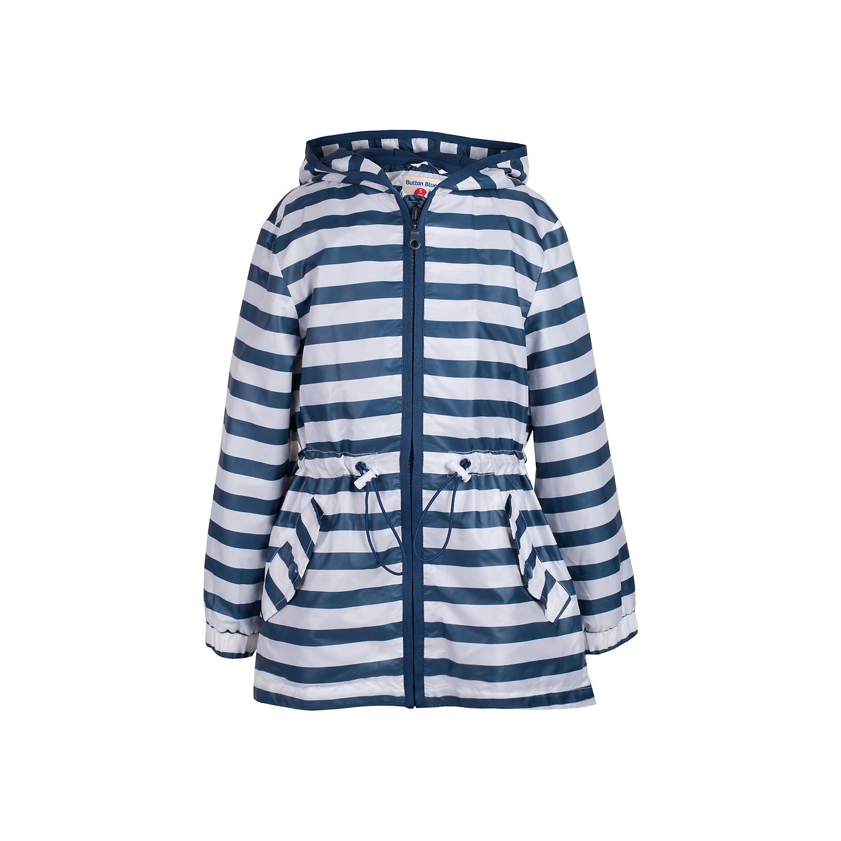 Куртка для девочки  BUTTON BLUEВерхняя одежда<br>Куртка для девочки  BUTTON BLUE<br>Стильная ветровка в полоску - прекрасное решение для летней прохлады. Модная комфортная форма, динамичный рисунок, продуманные детали подарят отличное настроение, капюшон надежно защитит от дождя и ветра. Если вы решили купить ветровку для девочки недорого, но хотите быть уверены в ее комфорте, качестве, высоких потребительских свойствах, ветровка Button Blue - то, что нужно!<br>Состав:<br>Ткань  верха: 100%  полиэстер, подклад: 100%  полиэстер<br><br>Ширина мм: 356<br>Глубина мм: 10<br>Высота мм: 245<br>Вес г: 519<br>Цвет: белый<br>Возраст от месяцев: 144<br>Возраст до месяцев: 156<br>Пол: Женский<br>Возраст: Детский<br>Размер: 158,98,104,110,116,122,128,134,140,146,152<br>SKU: 5523412