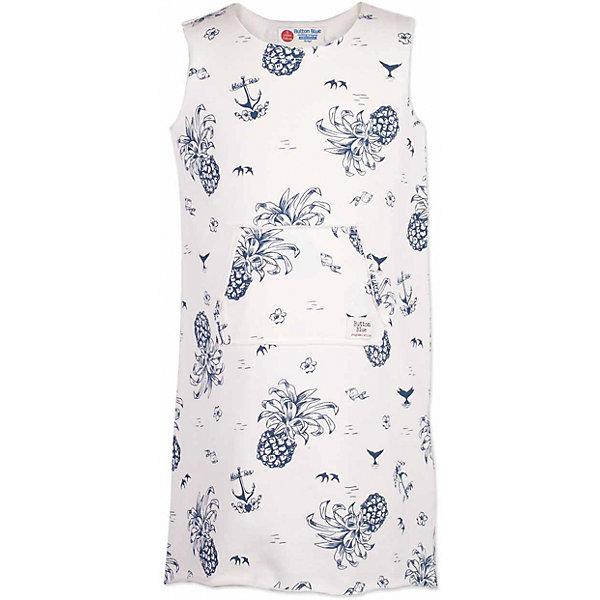 Платье для девочки  BUTTON BLUEПлатья и сарафаны<br>Платье для девочки  BUTTON BLUE<br>Хит прогулочного летнего гардероба, трикотажное платье с рисунком, выглядит отлично! Модная форма с заниженной линией спинки,  красивый силуэт, детали делают платье идеальным решением на каждый день. Купить детское трикотажное платье от Button Blue, значит, позаботиться о комфорте и прекрасном внешнем виде своего ребенка.<br>Состав:<br>60% хлопок 40% полиэстер<br>Ширина мм: 236; Глубина мм: 16; Высота мм: 184; Вес г: 177; Цвет: белый; Возраст от месяцев: 48; Возраст до месяцев: 60; Пол: Женский; Возраст: Детский; Размер: 110,158,152,146,140,134,128,122,116,104,98; SKU: 5523433;