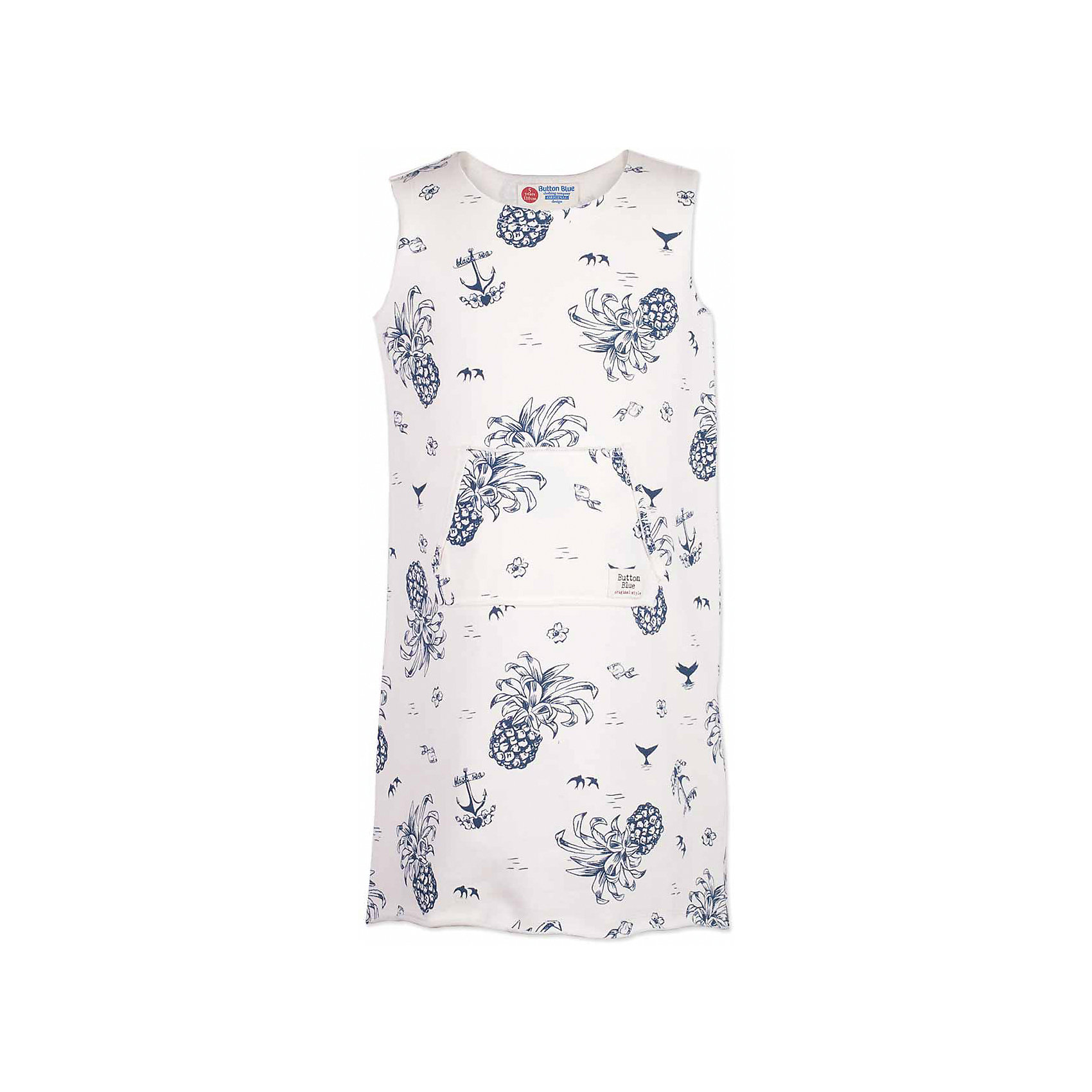Платье для девочки  BUTTON BLUEПлатья и сарафаны<br>Платье для девочки  BUTTON BLUE<br>Хит прогулочного летнего гардероба, трикотажное платье с рисунком, выглядит отлично! Модная форма с заниженной линией спинки,  красивый силуэт, детали делают платье идеальным решением на каждый день. Купить детское трикотажное платье от Button Blue, значит, позаботиться о комфорте и прекрасном внешнем виде своего ребенка.<br>Состав:<br>60% хлопок 40% полиэстер<br><br>Ширина мм: 236<br>Глубина мм: 16<br>Высота мм: 184<br>Вес г: 177<br>Цвет: белый<br>Возраст от месяцев: 48<br>Возраст до месяцев: 60<br>Пол: Женский<br>Возраст: Детский<br>Размер: 110,158,98,104,116,122,128,134,140,146,152<br>SKU: 5523433