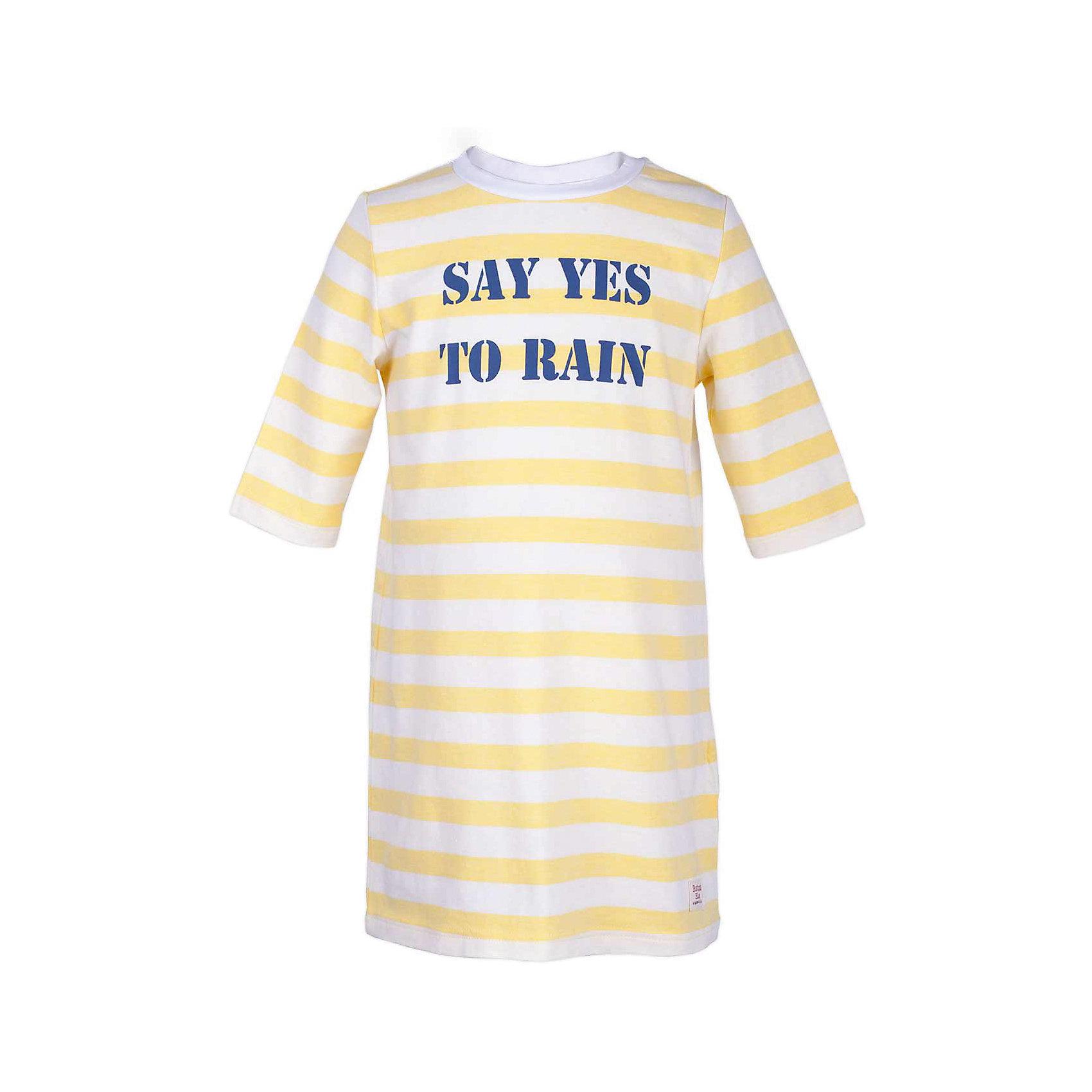 Платье для девочки  BUTTON BLUEПлатья и сарафаны<br>Платье для девочки  BUTTON BLUE<br>Хит прогулочного летнего гардероба, полосатое трикотажное платье, выглядит отлично! Модная трапециевидная форма, динамичный рисунок, рукав 3/4, симпатичный шрифтовой принт делают платье идеальным решением на каждый день. Купить детское трикотажное платье от Button Blue, значит, позаботиться о комфорте и прекрасном внешнем виде своего ребенка.<br>Состав:<br>95% хлопок 5% эластан<br><br>Ширина мм: 236<br>Глубина мм: 16<br>Высота мм: 184<br>Вес г: 177<br>Цвет: желтый<br>Возраст от месяцев: 60<br>Возраст до месяцев: 72<br>Пол: Женский<br>Возраст: Детский<br>Размер: 116,110,104,98,158,152,146,140,134,128,122<br>SKU: 5523449