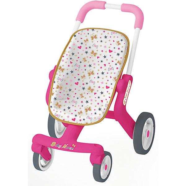 Коляска прогулочная для пупса,Вaby Nurse, SmobyТранспорт и коляски для кукол<br>Коляска для пупса Baby Nurse прекрасно подходит для прогулок с любимой куклой в погожий солнечный день. Сама конструкция окрашена в ярко-розовый цвет. Сиденье обтянуто плотной белой тканью со множеством красочных бабочек, сердечек и звездочек. У коляски 4 колеса, 2 передних - поворотные - способны вращаться на 360 градусов, что обеспечивает хорошую маневренность коляски.<br><br>Ширина мм: 325<br>Глубина мм: 465<br>Высота мм: 125<br>Вес г: 1900<br>Возраст от месяцев: 24<br>Возраст до месяцев: 84<br>Пол: Женский<br>Возраст: Детский<br>SKU: 5524070