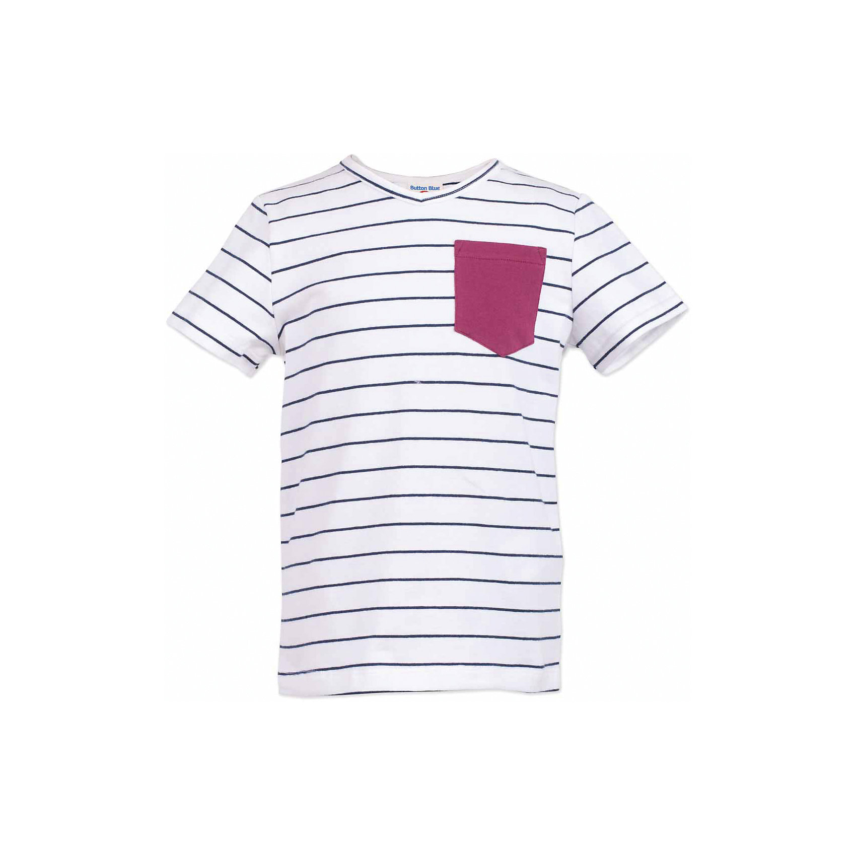 Футболка для мальчика  BUTTON BLUEФутболки, поло и топы<br>Футболка для мальчика  BUTTON BLUE<br>Белая футболка в полоску - не только базовая вещь в гардеробе ребенка, но и основа модного летнего образа! Если вы решили купить недорогую футболку для мальчика, выберете футболку от Button Blue с V-образной горловиной и контрастным карманом. Маленькая яркая деталь - изюминка модели, создающая настроение! Низкая цена изделия не окажет влияния на бюджет семьи, позволив создать интересный гардероб для долгожданных каникул!<br>Состав:<br>95% хлопок 5% эластан<br><br>Ширина мм: 199<br>Глубина мм: 10<br>Высота мм: 161<br>Вес г: 151<br>Цвет: белый<br>Возраст от месяцев: 72<br>Возраст до месяцев: 84<br>Пол: Мужской<br>Возраст: Детский<br>Размер: 122,116,110,104,98,158,152,146,140,134,128<br>SKU: 5524163