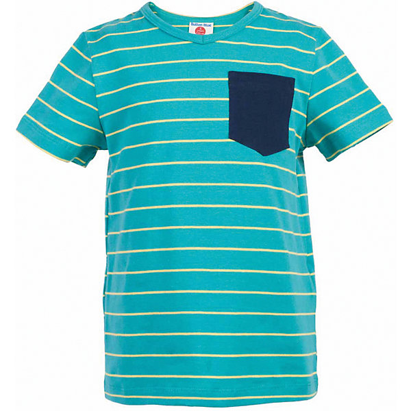 Футболка для мальчика  BUTTON BLUEФутболки, поло и топы<br>Футболка для мальчика  BUTTON BLUE<br>Яркая футболка в полоску - не только базовая вещь в гардеробе ребенка, но и основа модного летнего образа! Если вы решили купить недорогую футболку для мальчика, выберете футболку от Button Blue с V-образной горловиной и контрастным карманом. Маленькая яркая деталь - изюминка модели, создающая настроение! Низкая цена изделия не окажет влияния на бюджет семьи, позволив создать интересный гардероб для долгожданных каникул!<br>Состав:<br>95% хлопок 5% эластан<br>Ширина мм: 199; Глубина мм: 10; Высота мм: 161; Вес г: 151; Цвет: бирюзовый; Возраст от месяцев: 144; Возраст до месяцев: 156; Пол: Мужской; Возраст: Детский; Размер: 158,104,98,152,146,140,134,128,122,116,110; SKU: 5524198;