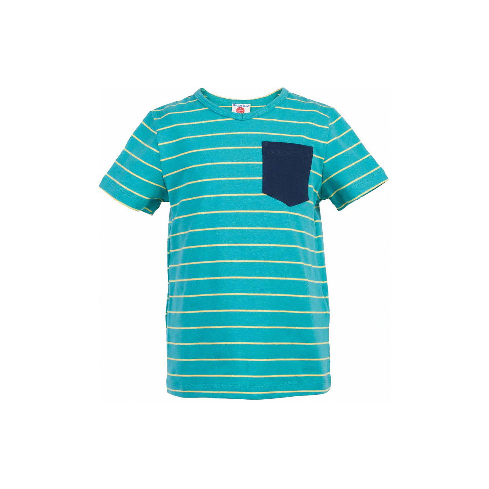 Футболка для мальчика  BUTTON BLUEФутболки, поло и топы<br>Футболка для мальчика  BUTTON BLUE<br>Яркая футболка в полоску - не только базовая вещь в гардеробе ребенка, но и основа модного летнего образа! Если вы решили купить недорогую футболку для мальчика, выберете футболку от Button Blue с V-образной горловиной и контрастным карманом. Маленькая яркая деталь - изюминка модели, создающая настроение! Низкая цена изделия не окажет влияния на бюджет семьи, позволив создать интересный гардероб для долгожданных каникул!<br>Состав:<br>95% хлопок 5% эластан<br><br>Ширина мм: 199<br>Глубина мм: 10<br>Высота мм: 161<br>Вес г: 151<br>Цвет: бирюзовый<br>Возраст от месяцев: 144<br>Возраст до месяцев: 156<br>Пол: Мужской<br>Возраст: Детский<br>Размер: 158,98,104,110,116,122,128,134,140,146,152<br>SKU: 5524198