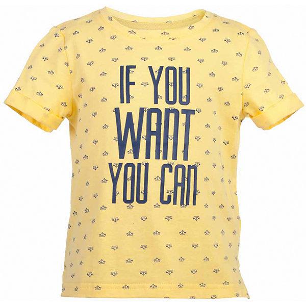 Футболка для мальчика  BUTTON BLUEФутболки, поло и топы<br>Футболка для мальчика  BUTTON BLUE<br>Яркие футболки с рисунком - хит сезона Весна/Лето 2017! Динамичный принт создает летнее настроение и делает модель яркой и запоминающейся. Если вы решили купить недорогую футболку для мальчика, обратите внимание на модель от Button Blue! Эта футболка станет выразительным акцентом повседневного образа, сделав каждый комплект оригинальным и необычным. Низкая цена не окажет влияния на бюджет семьи, позволив создать интересный базовый гардероб для долгожданных каникул!<br>Состав:<br>100%  хлопок<br>Ширина мм: 199; Глубина мм: 10; Высота мм: 161; Вес г: 151; Цвет: желтый; Возраст от месяцев: 24; Возраст до месяцев: 36; Пол: Мужской; Возраст: Детский; Размер: 98,158,152,146,140,134,128,122,116,110,104; SKU: 5524269;