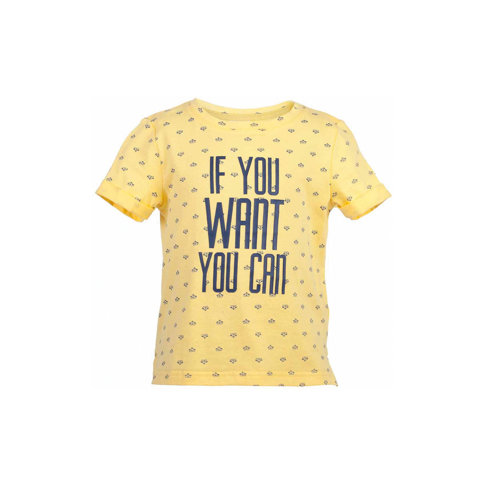 Футболка для мальчика  BUTTON BLUEФутболки, поло и топы<br>Футболка для мальчика  BUTTON BLUE<br>Яркие футболки с рисунком - хит сезона Весна/Лето 2017! Динамичный принт создает летнее настроение и делает модель яркой и запоминающейся. Если вы решили купить недорогую футболку для мальчика, обратите внимание на модель от Button Blue! Эта футболка станет выразительным акцентом повседневного образа, сделав каждый комплект оригинальным и необычным. Низкая цена не окажет влияния на бюджет семьи, позволив создать интересный базовый гардероб для долгожданных каникул!<br>Состав:<br>100%  хлопок<br><br>Ширина мм: 199<br>Глубина мм: 10<br>Высота мм: 161<br>Вес г: 151<br>Цвет: желтый<br>Возраст от месяцев: 132<br>Возраст до месяцев: 144<br>Пол: Мужской<br>Возраст: Детский<br>Размер: 152,158,98,146,140,134,128,122,116,110,104<br>SKU: 5524269