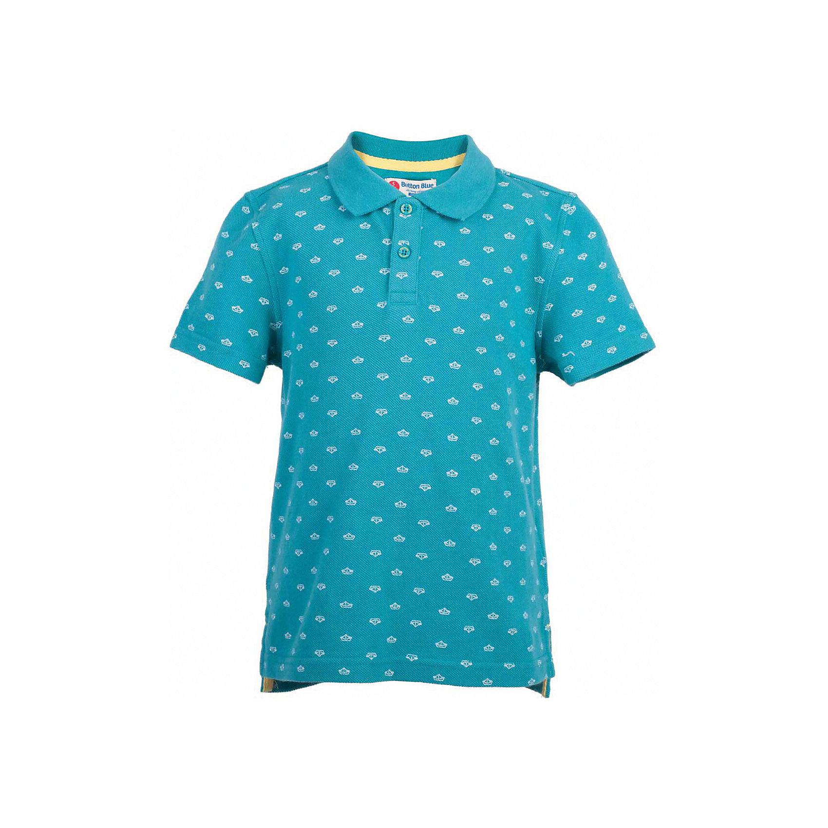 Поло для мальчика  BUTTON BLUEФутболки, поло и топы<br>Поло для мальчика  BUTTON BLUE<br>Бирюзовая футболка-поло - изделие из разряда must have! Это не только базовая вещь в гардеробе ребенка, но и залог хорошего летнего настроения! Если вы решили купить недорогую  футболку-поло для мальчика, выберете стильное бирюзовое поло с мелким рисунком от Button Blue, и ваш ребенок будет доволен! Низкая цена не окажет влияния на бюджет семьи, позволив создать интересный базовый гардероб для долгожданных каникул!<br>Состав:<br>100%  хлопок<br><br>Ширина мм: 199<br>Глубина мм: 10<br>Высота мм: 161<br>Вес г: 151<br>Цвет: бирюзовый<br>Возраст от месяцев: 144<br>Возраст до месяцев: 156<br>Пол: Мужской<br>Возраст: Детский<br>Размер: 158,122,98,104,110,116,128,134,140,146,152<br>SKU: 5524380