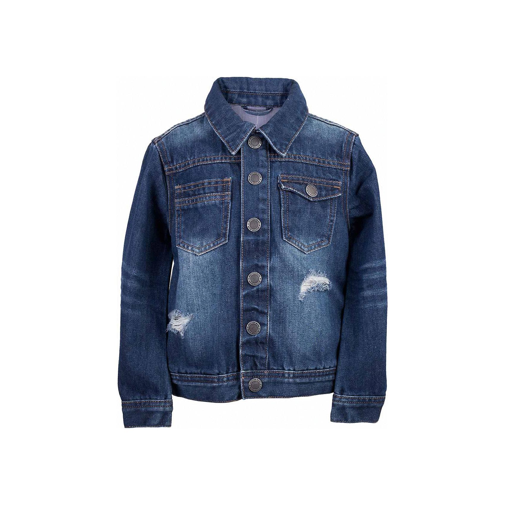 Куртка джинсовая для мальчика  BUTTON BLUEВерхняя одежда<br>Куртка джинсовая для мальчика  BUTTON BLUE<br>Джинсовая куртка для мальчика - базовая вещь весеннего-летнего гардероба! Она отлично сочетается с брюками, шортами, бриджами, делая комплект интересным и завершенным. Вы хотите, чтобы ваш ребенок был в тренде? Вы предпочитаете купить джинсовую куртку недорого, но не сомневаться в ее качестве и комфорте? Тогда джинсовая куртка от Button Blue с модными потертостями, заминами, варкой - лучший вариант!<br>Состав:<br>100%  хлопок<br><br>Ширина мм: 356<br>Глубина мм: 10<br>Высота мм: 245<br>Вес г: 519<br>Цвет: синий<br>Возраст от месяцев: 84<br>Возраст до месяцев: 96<br>Пол: Мужской<br>Возраст: Детский<br>Размер: 128,134,140,146,152,158,98,104,110,116,122<br>SKU: 5524521