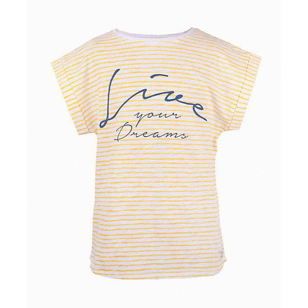 Футболка для девочки  BUTTON BLUEФутболки, поло и топы<br>Футболка для девочки  BUTTON BLUE<br>Полосатая футболка - не только базовая вещь в гардеробе ребенка, но и залог хорошего летнего настроения! Если вы решили купить футболку для девочки, выберете модель футболки в полоску с оригинальным принтом, и ваш ребенок будет доволен! Низкая цена не окажет влияния на бюджет семьи, позволив создать яркий базовый гардероб для долгожданных каникул!<br>Состав:<br>100%  хлопок<br><br>Ширина мм: 199<br>Глубина мм: 10<br>Высота мм: 161<br>Вес г: 151<br>Цвет: желтый<br>Возраст от месяцев: 24<br>Возраст до месяцев: 36<br>Пол: Женский<br>Возраст: Детский<br>Размер: 98,158,152,146,140,134,128,122,116,110,104<br>SKU: 5524956